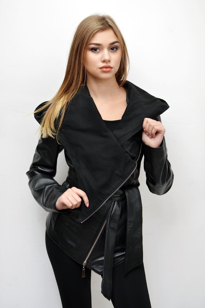 Кожаная куртка — косуха с капюшоном