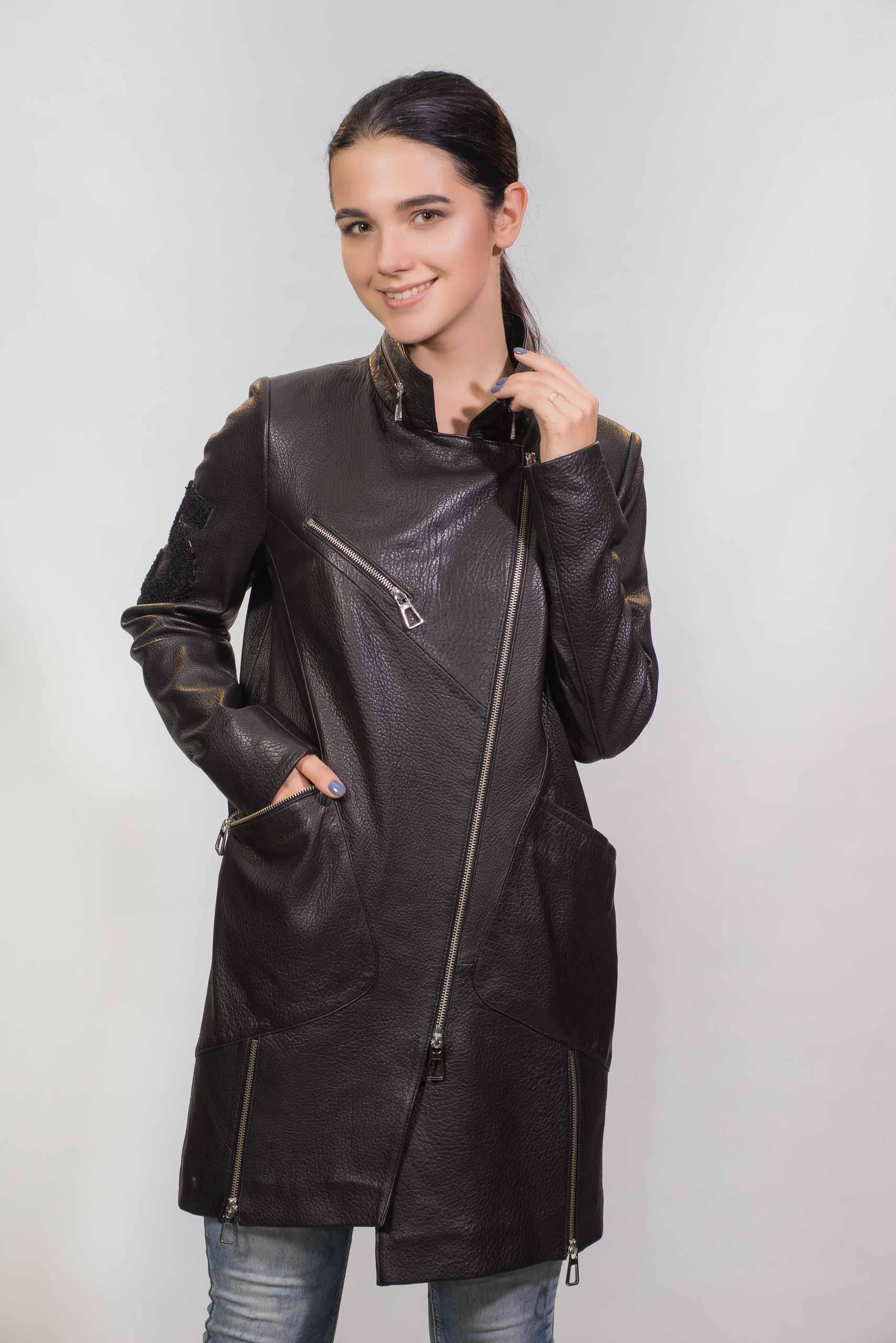 Женское Кожаное пальто из натуральной кожиZ-1864