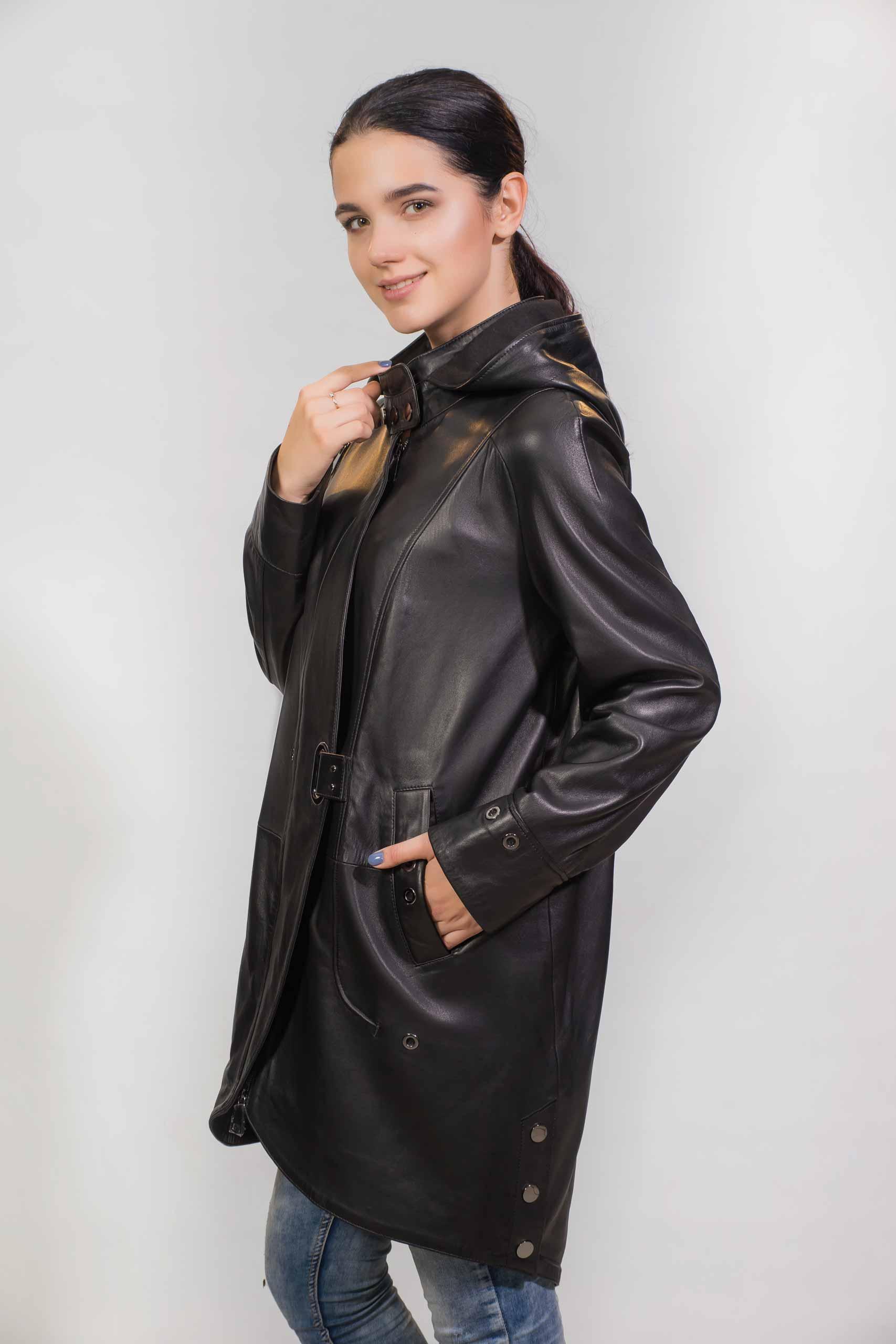 Женское Кожаное пальто из натуральной кожиZ-1870