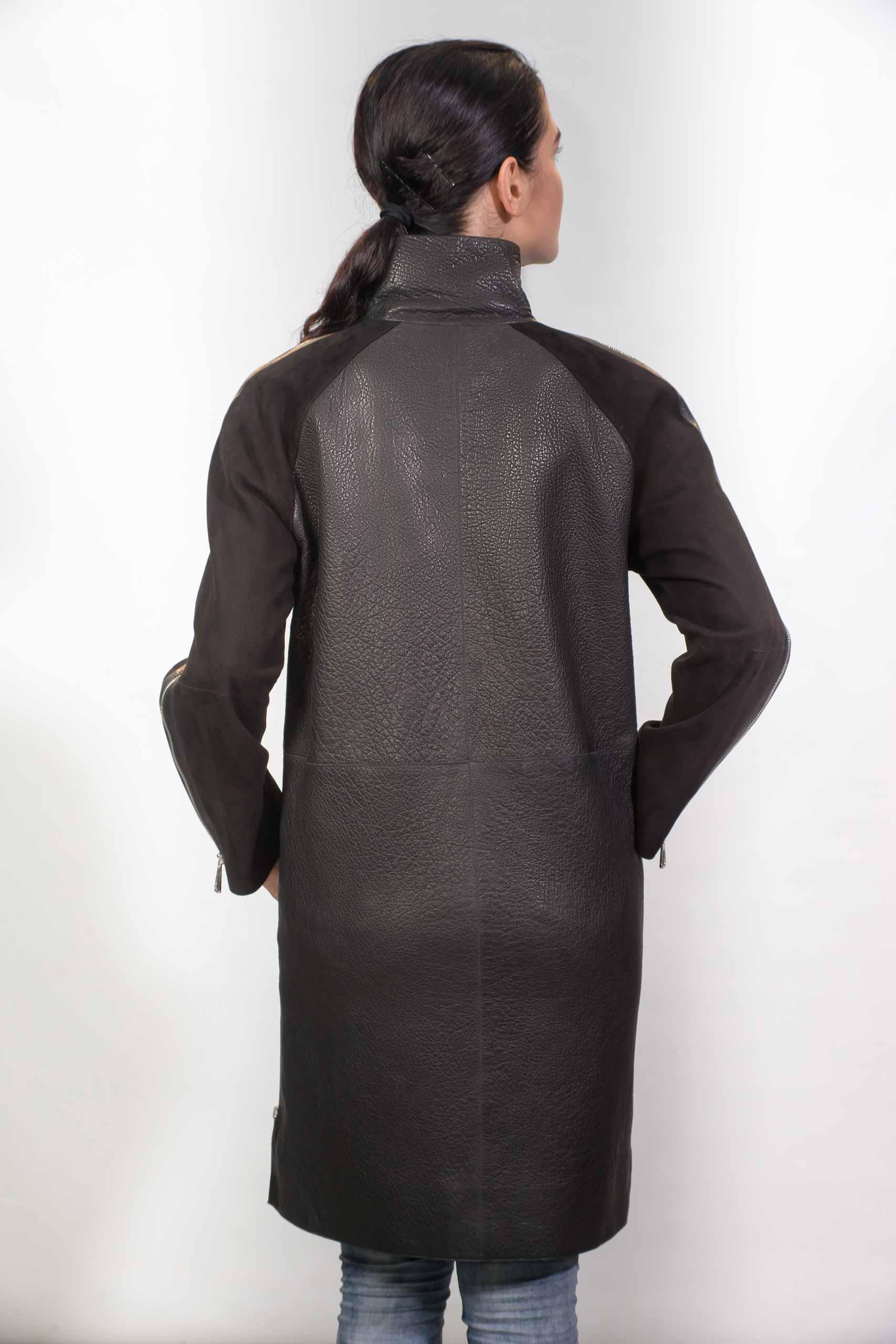 Женское Кожаное пальто, с замшевыми вставкамиZ-1836
