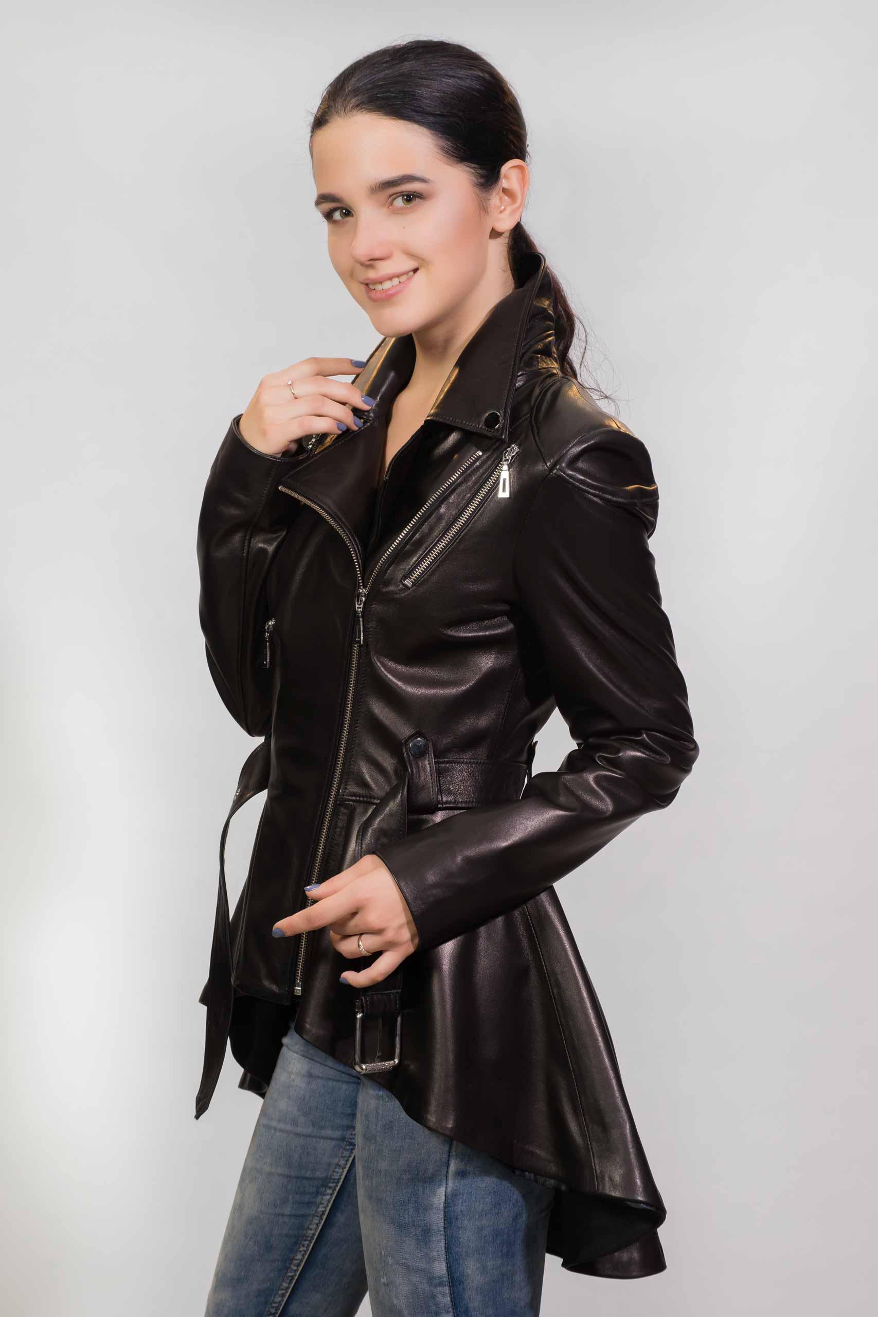 Женское пальто из натуральной кожи Z-3214