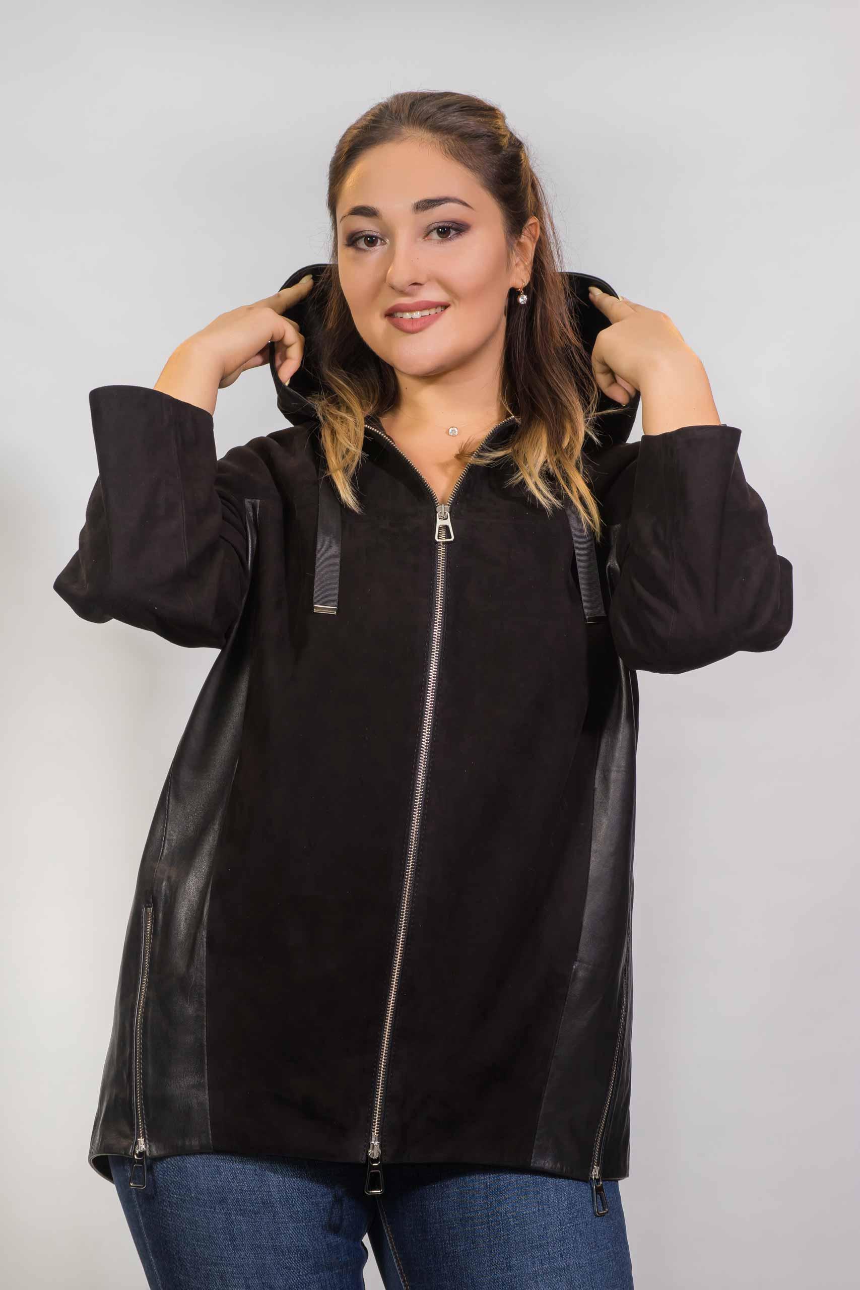 Женская куртка из натуральной кожи с замшевыми вставками Z-1819-A