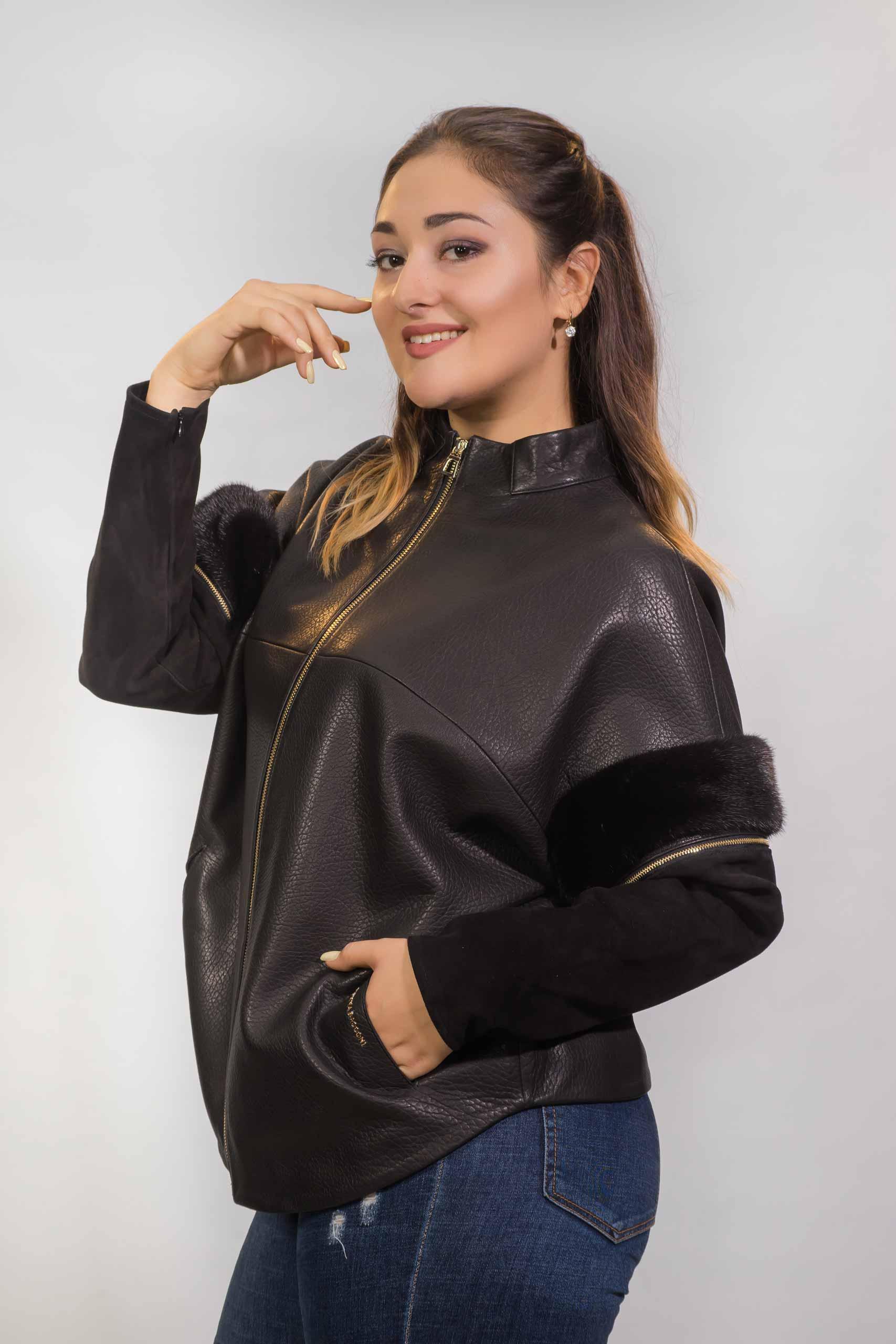 Женская куртка из натуральной кожи с вставками из замши и норки1730