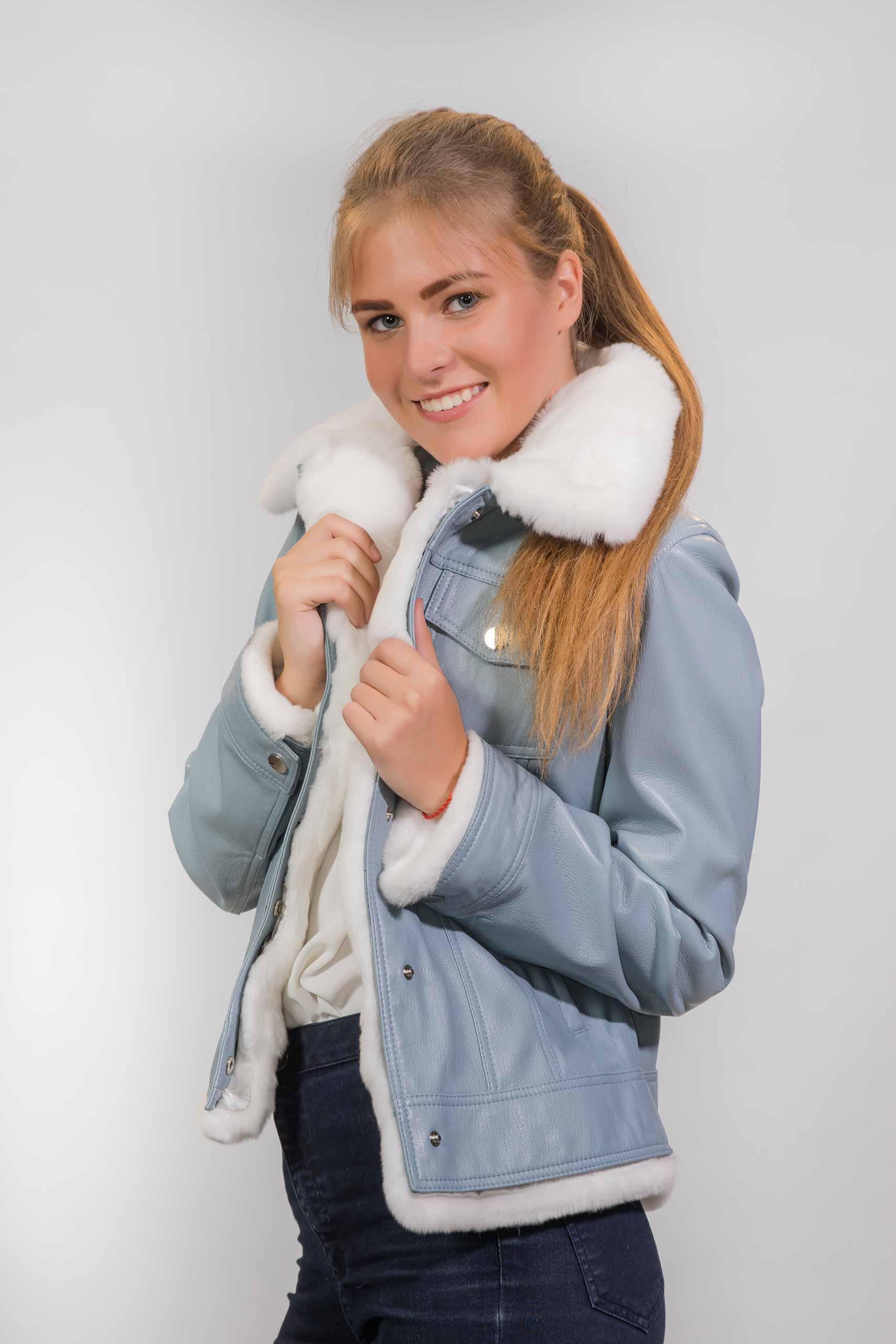 Женская Кожаная куртка с воротником из меха РексаZ-3245