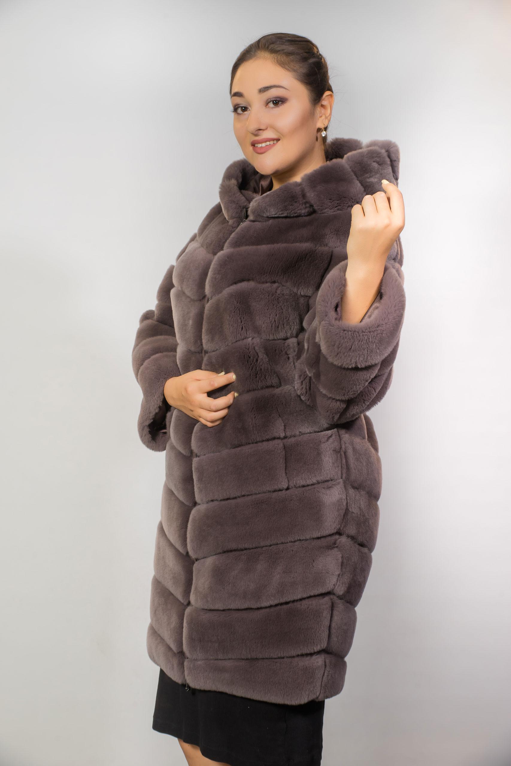 Женская шуба из меха РексаB-58