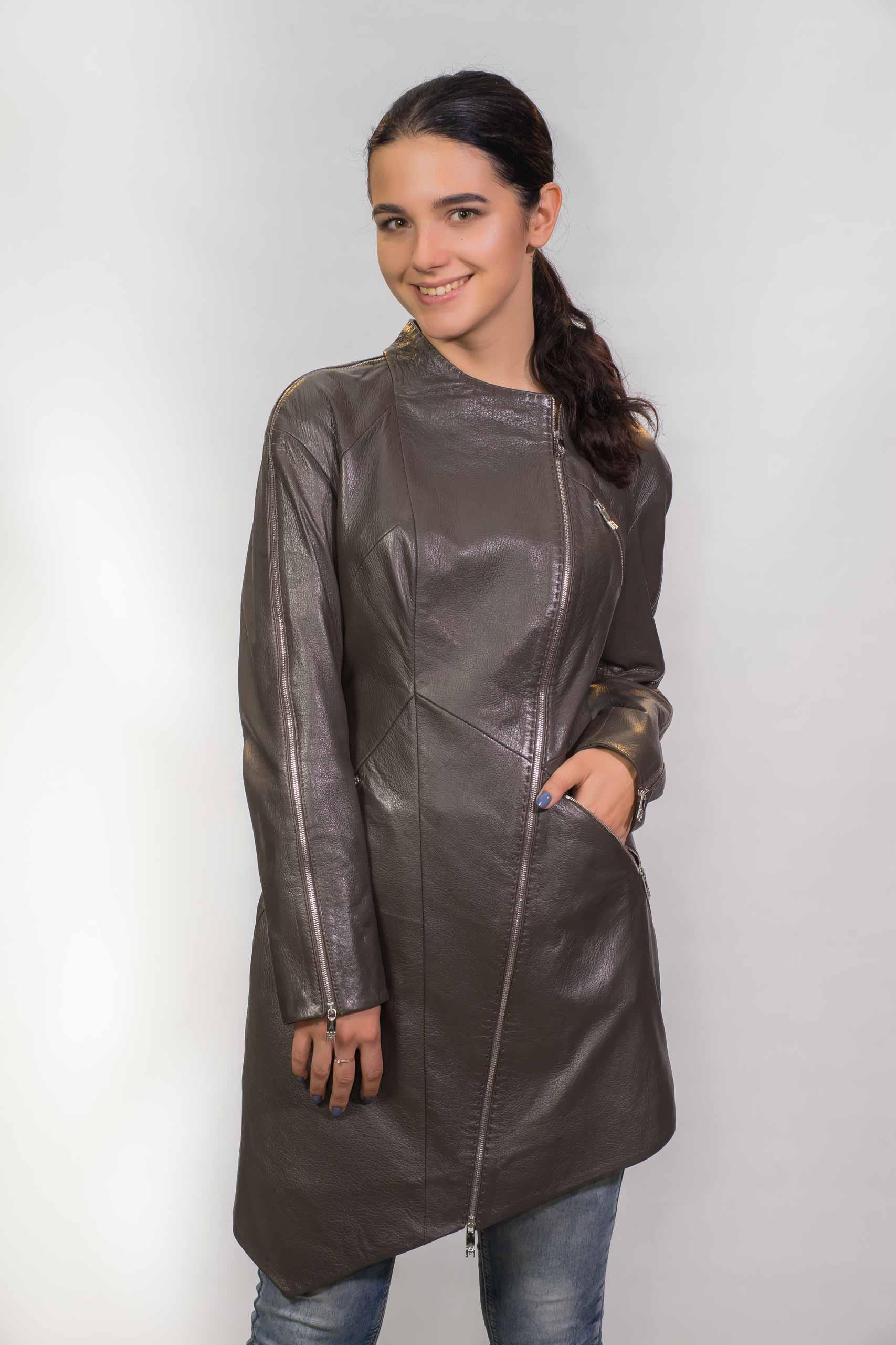 Женское Кожаное пальто из натуральной кожиZ-1803