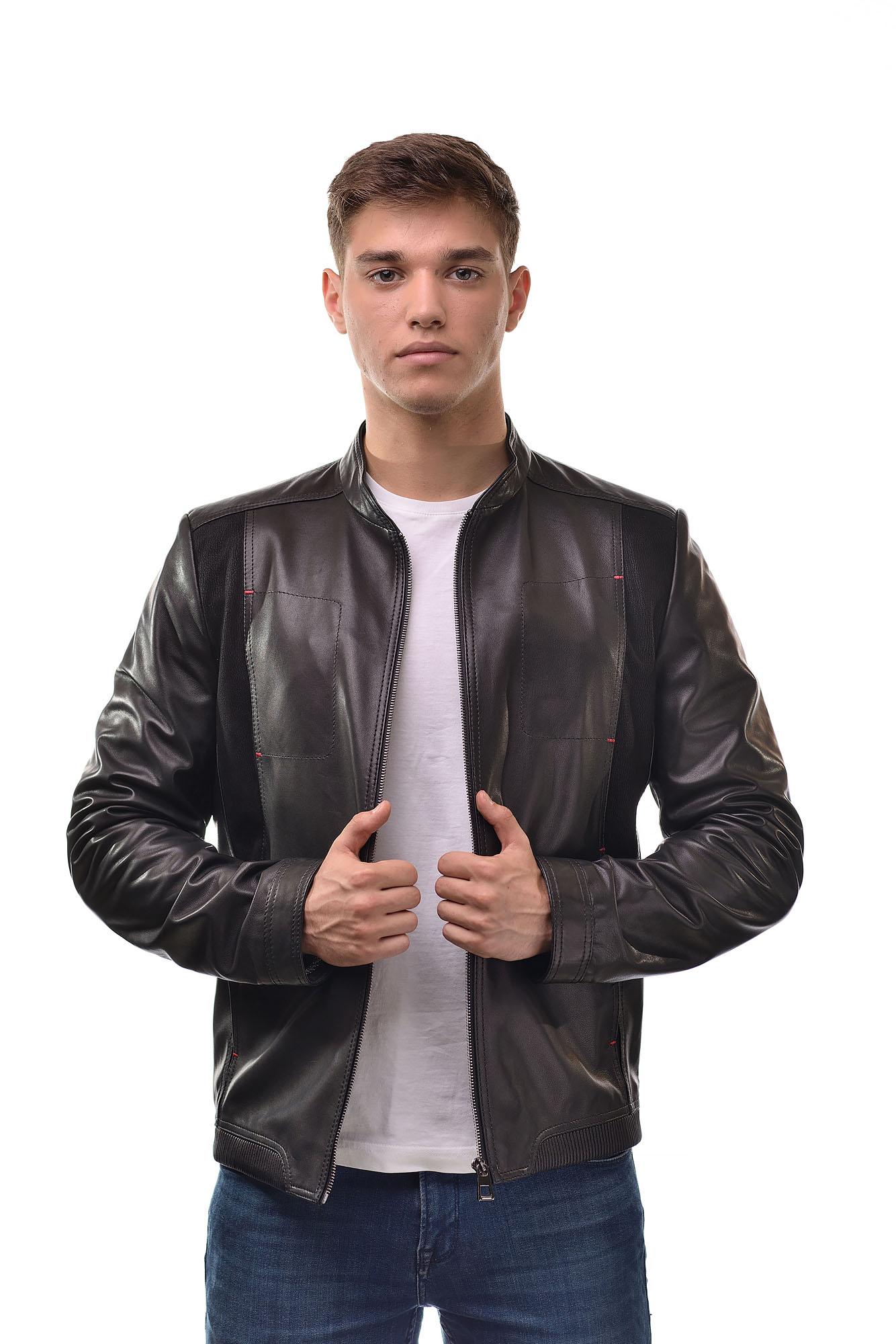 Мужская Кожаная куртка с замшевыми вставками6153