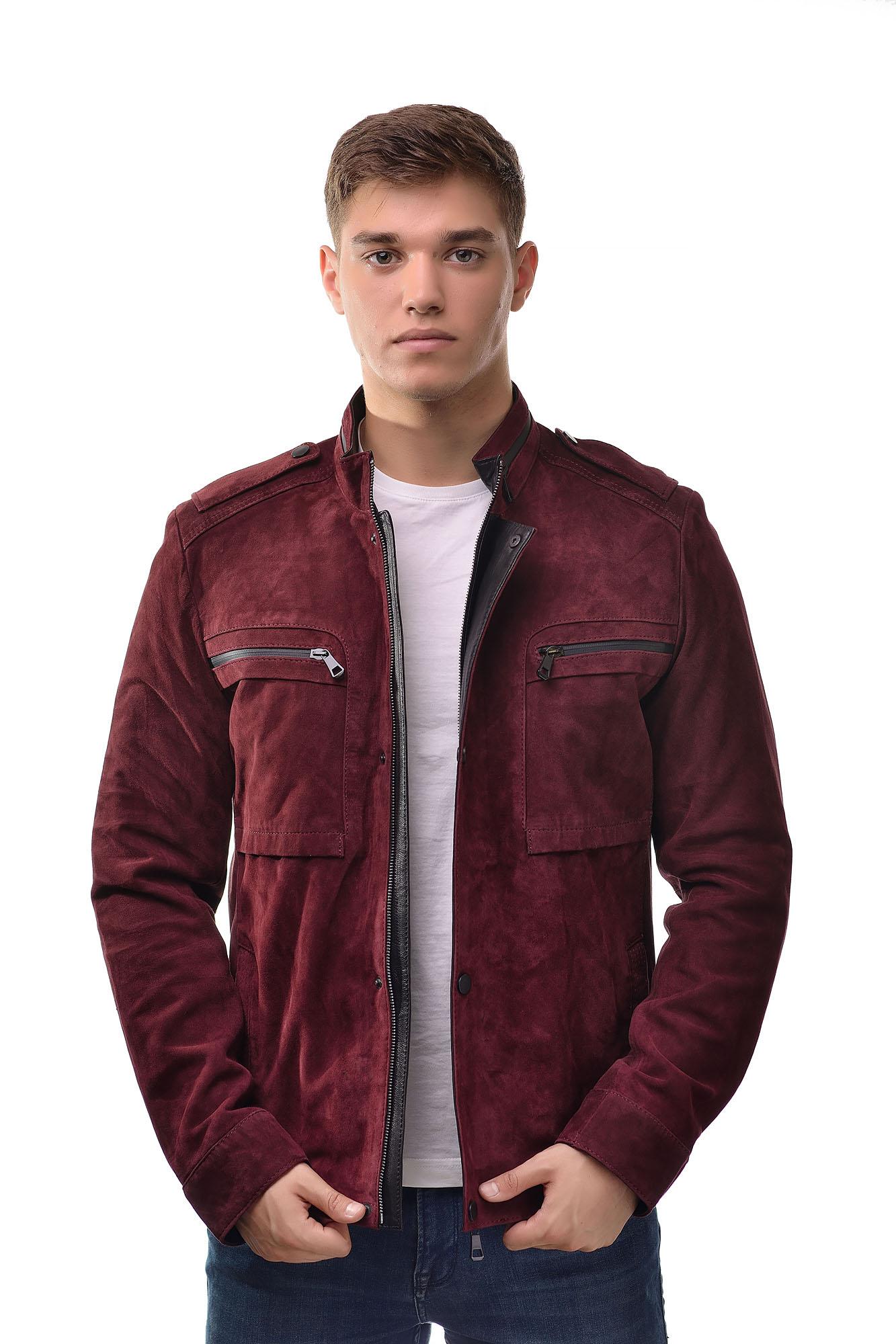 Мужская замшевая куртка7435(Бордовый)