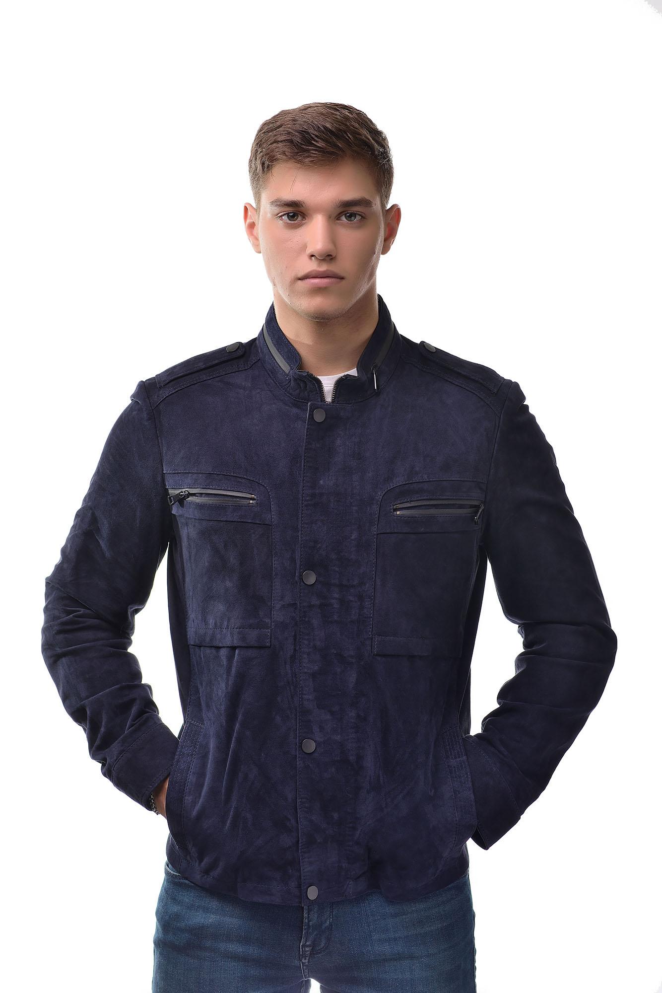 Мужская замшевая куртка 7435(Синий)
