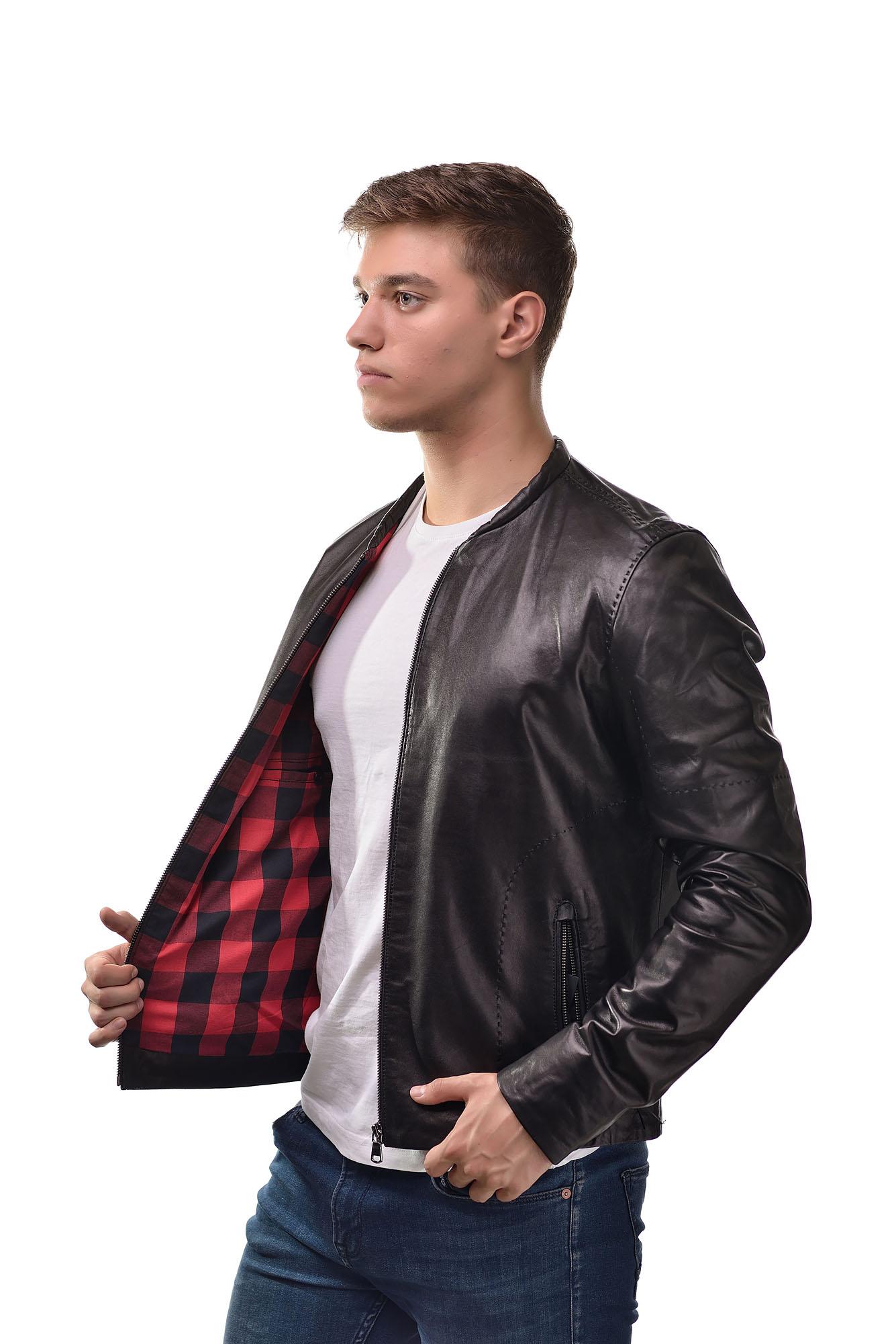 Мужская Кожаная куртка — бомбер2804