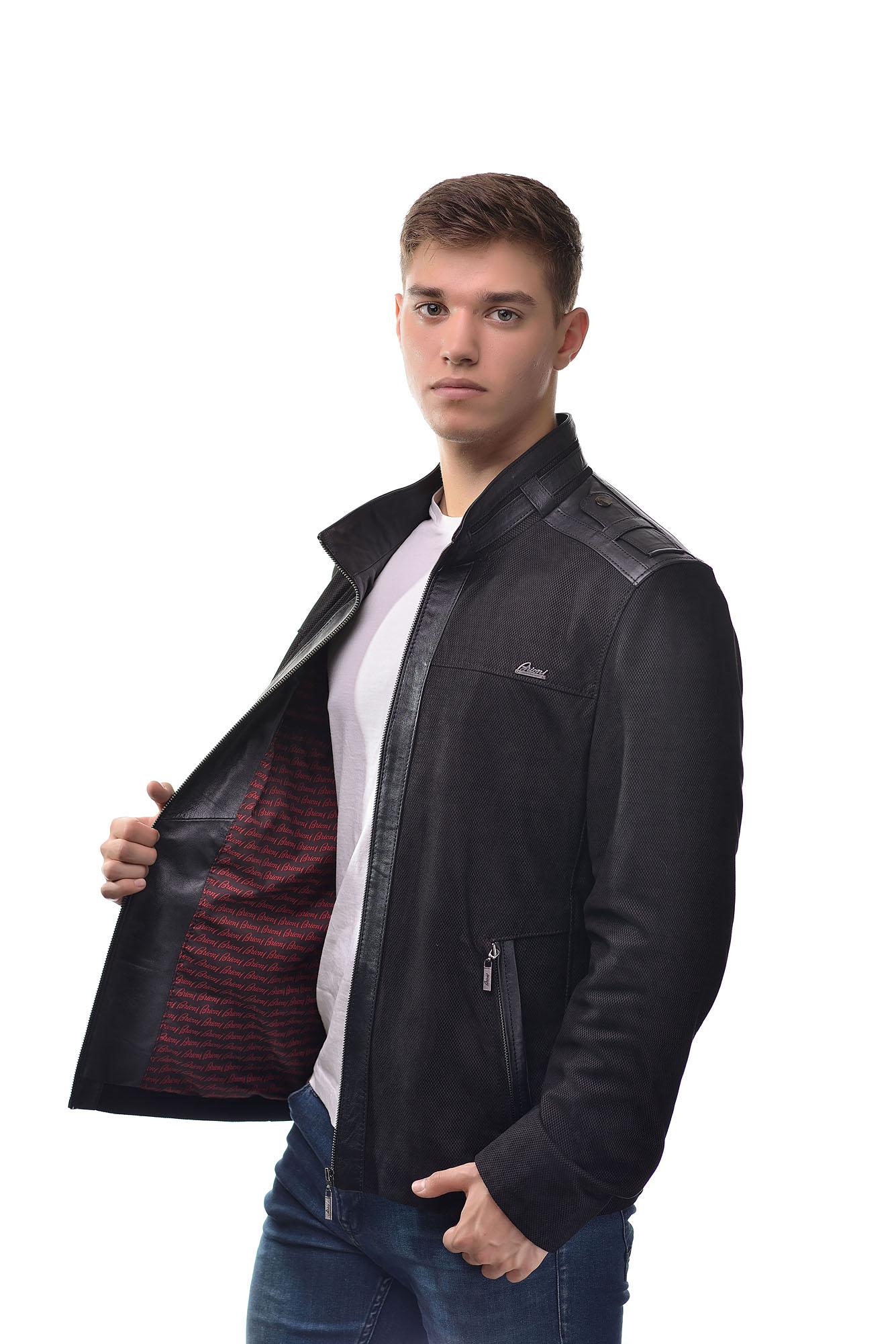 Мужская Кожаная куртка из натуральной кожи и замши7414