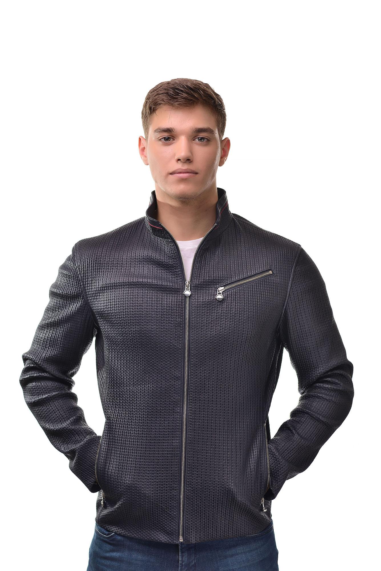 Мужская Кожаная куртка KE-103(Синий)