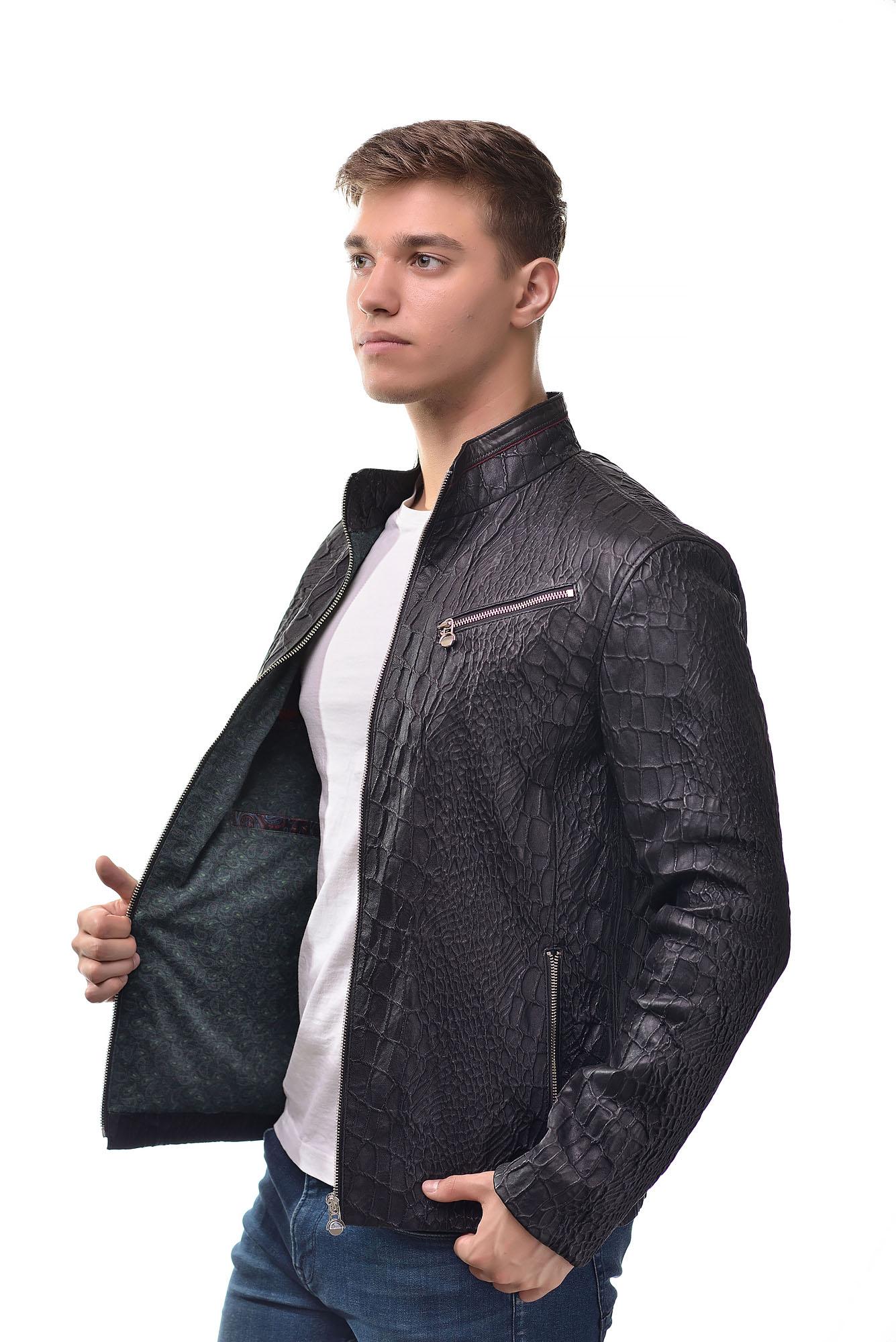 Мужская Кожаная курткаKE-103(Черный)