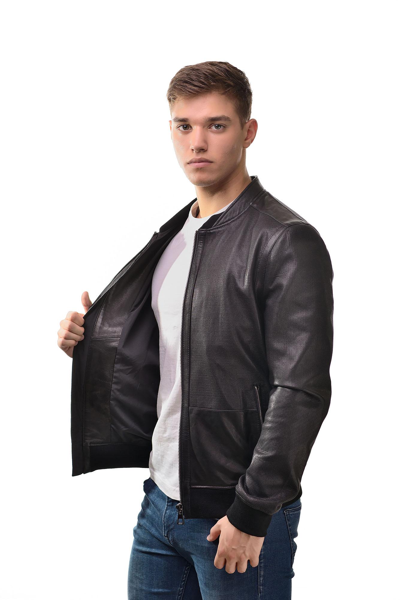 Мужская Кожаная куртка бомберZ-08