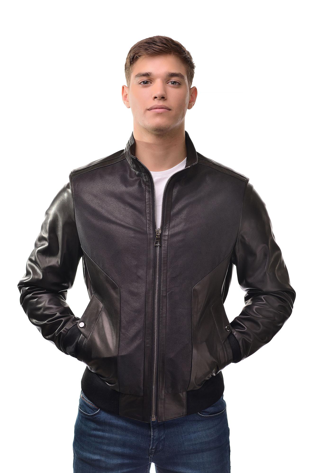 Мужская Кожана курткаZ-310(Черный)