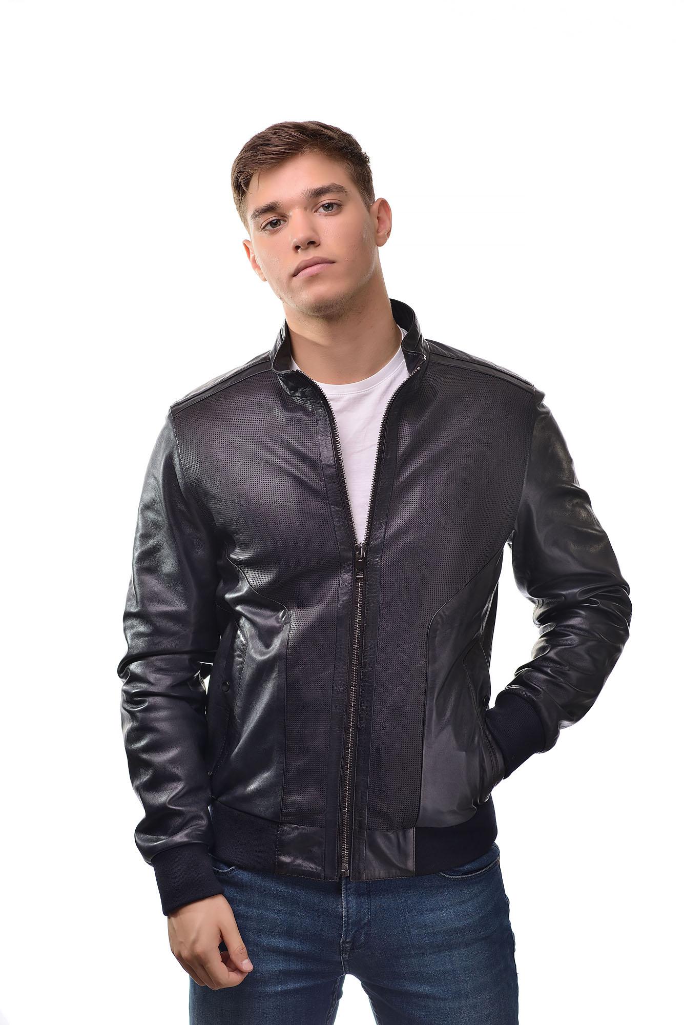 Мужская Кожана куртка Z-310(Синий)