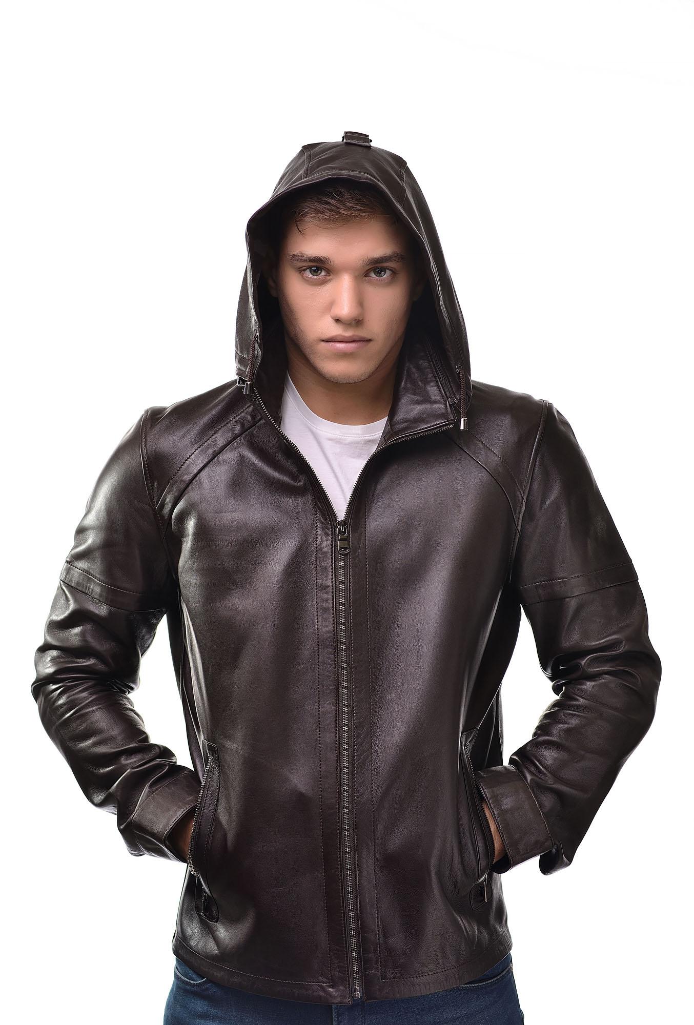 Мужская Кожаная куртка с капюшоном2829
