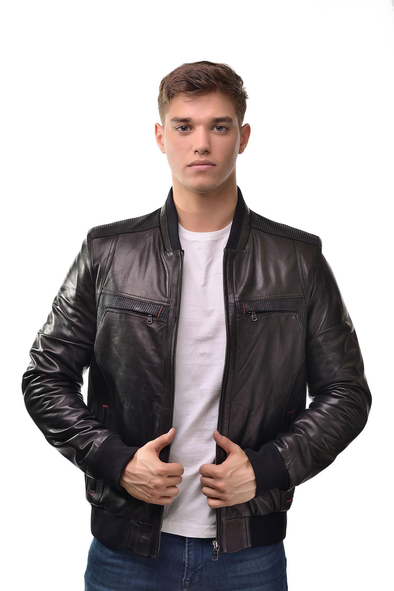 Мужская Кожаная куртка бомбер 2762