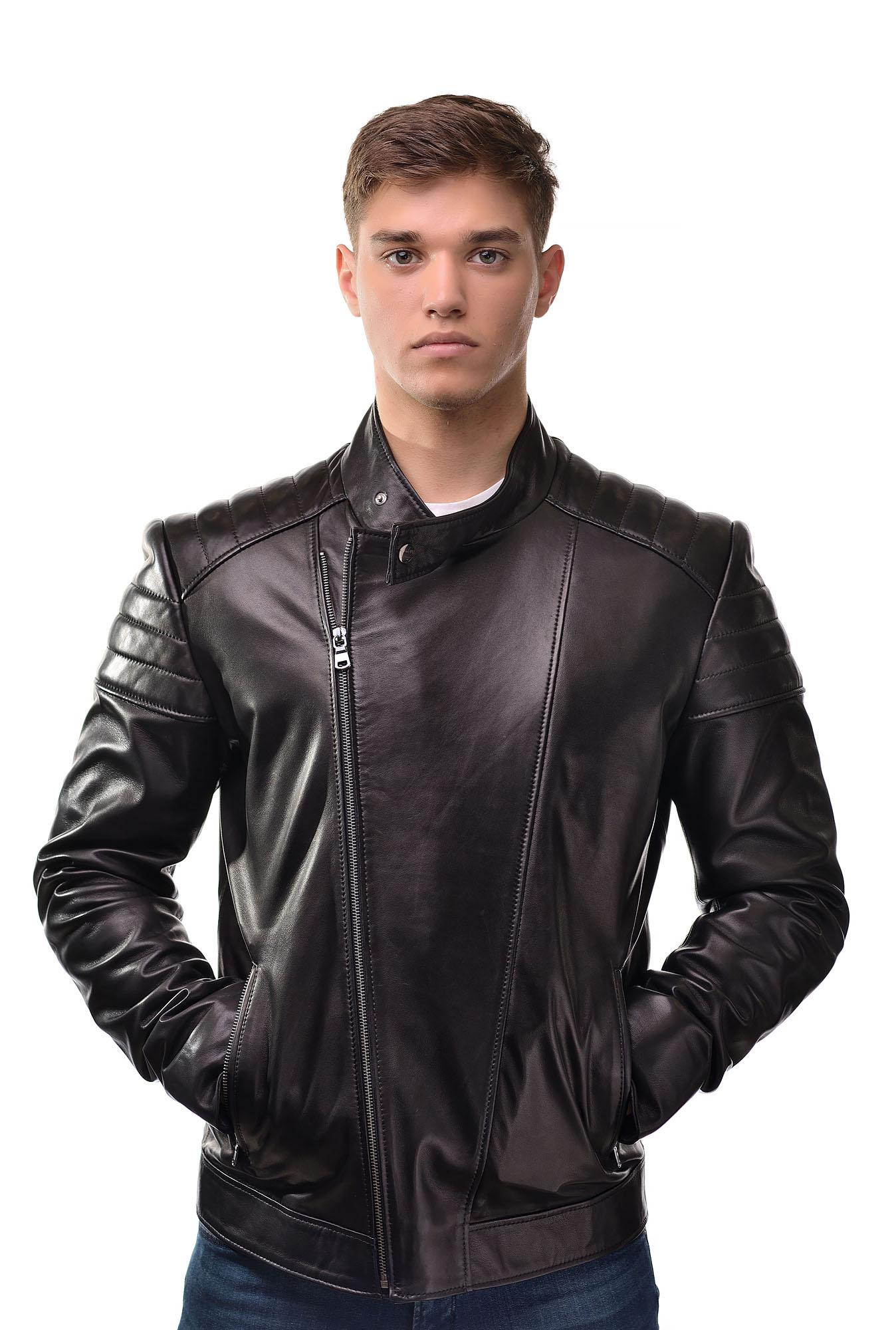 Мужская Кожаная куртка косуха3302(Черный)