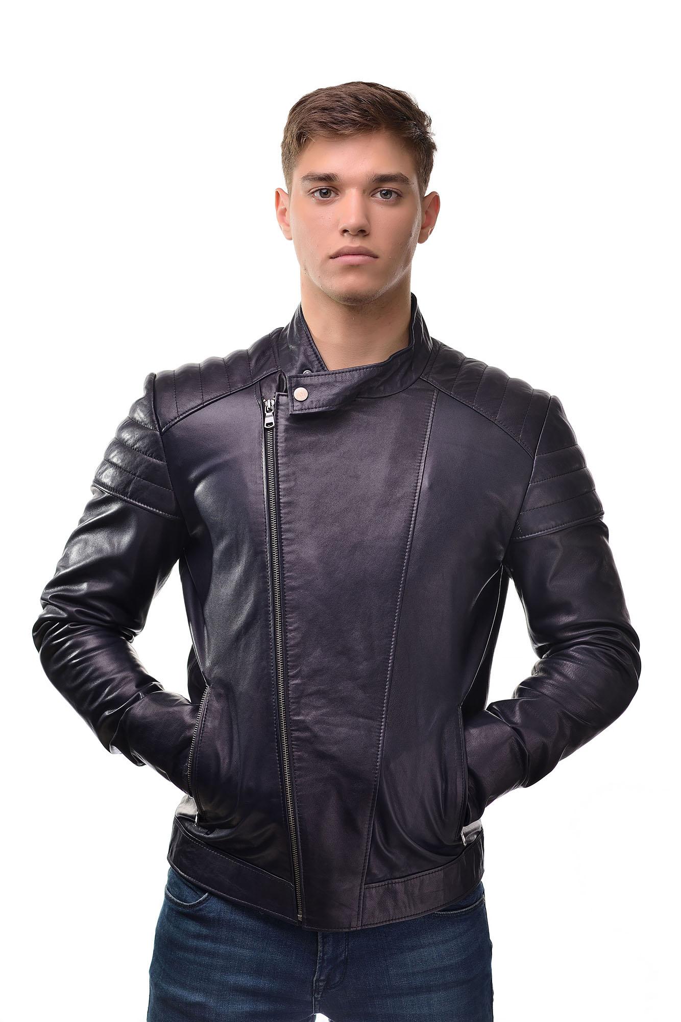 Мужская Кожаная куртка косуха 3302(Синий)
