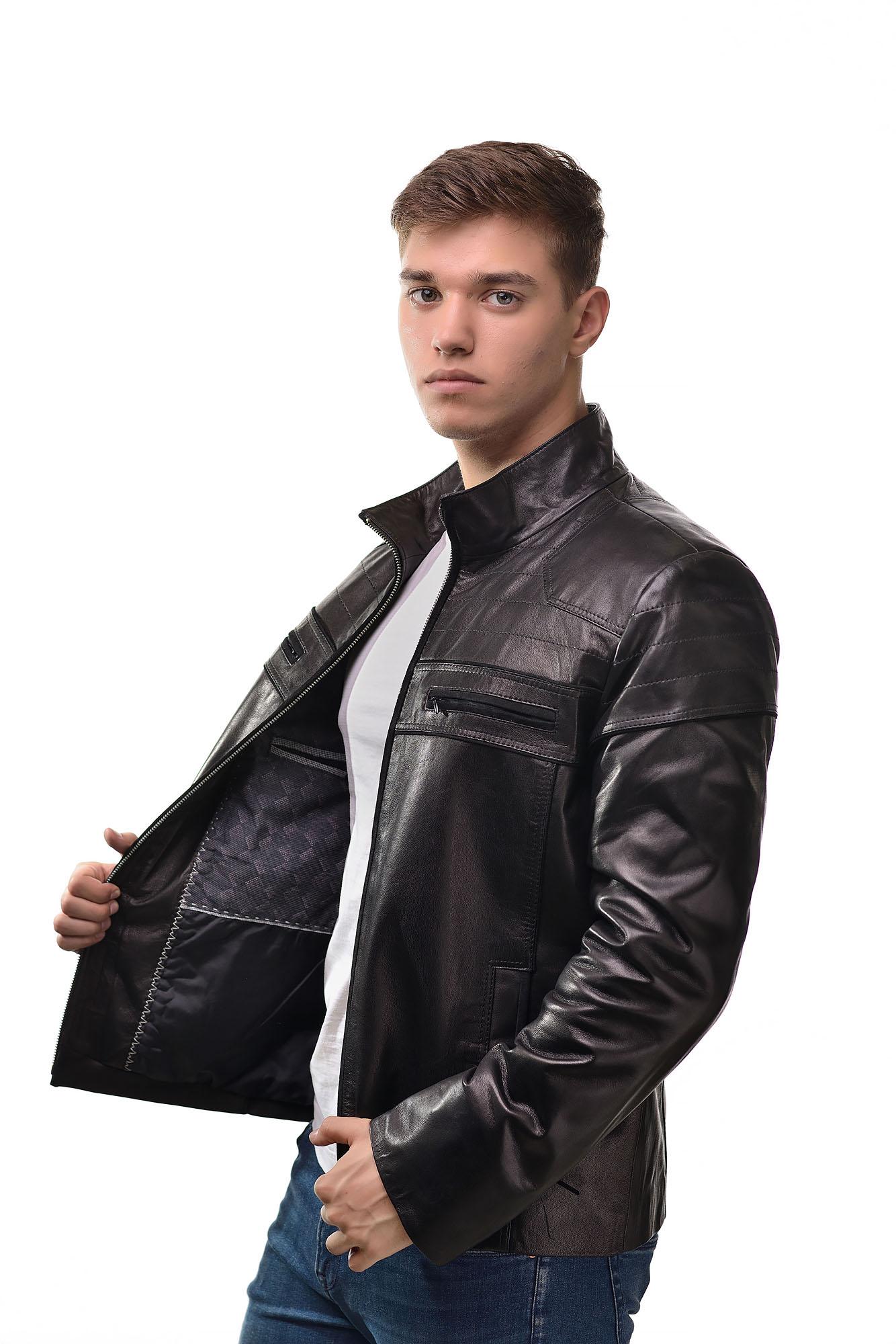 Мужская Кожаная куртка 2368(Черная)