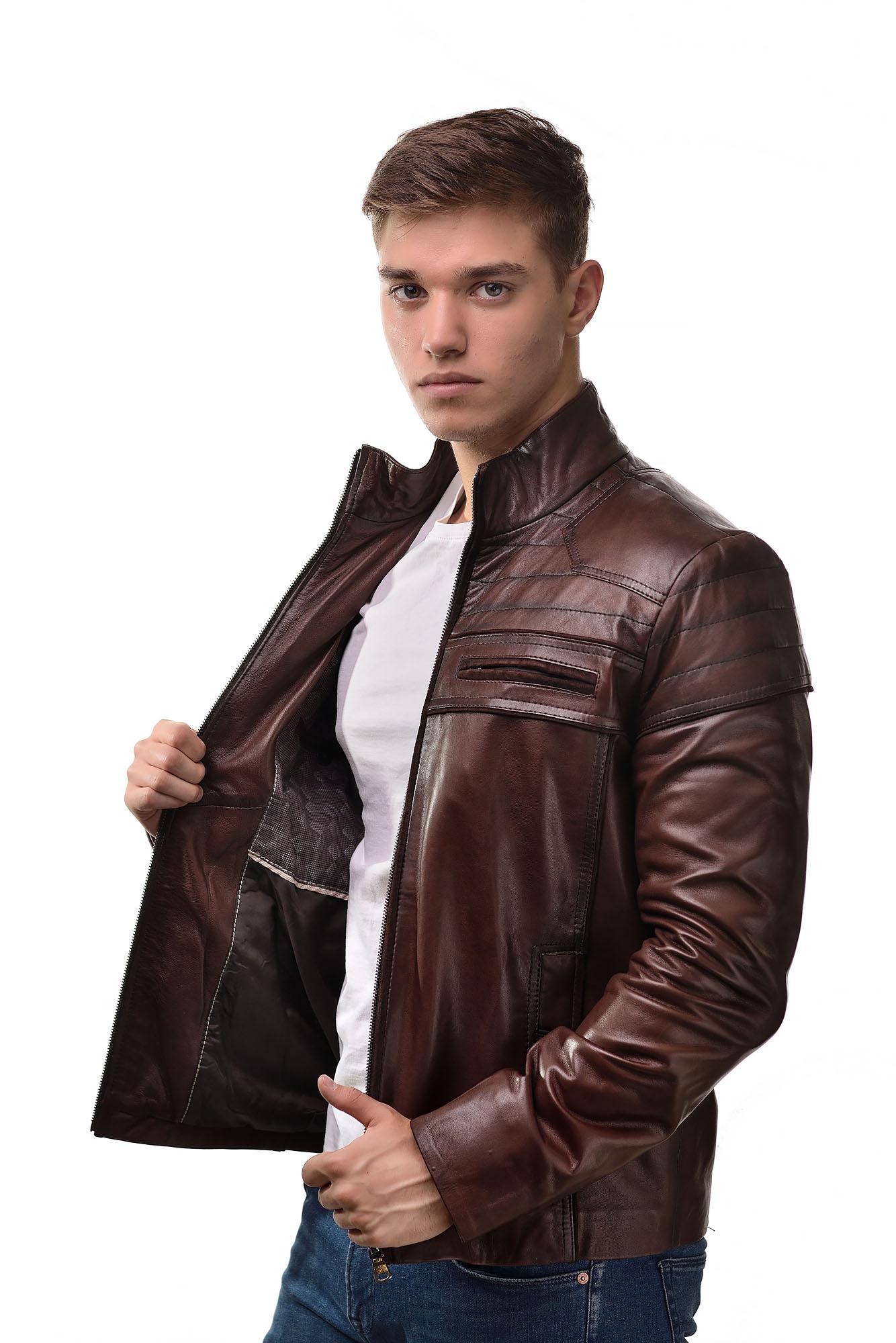 Мужская Кожаная куртка 2368(Коричневая)