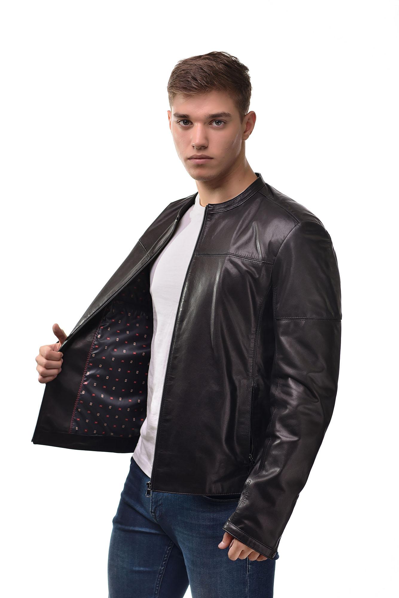 Мужская Кожаная куртка бомбер6122
