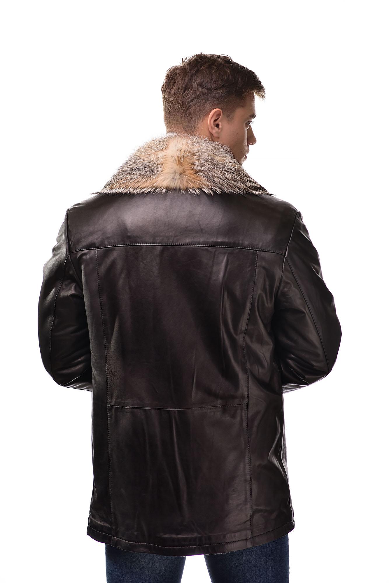 Мужская Кожаная дубленка на овчине с воротником из меха волка5419