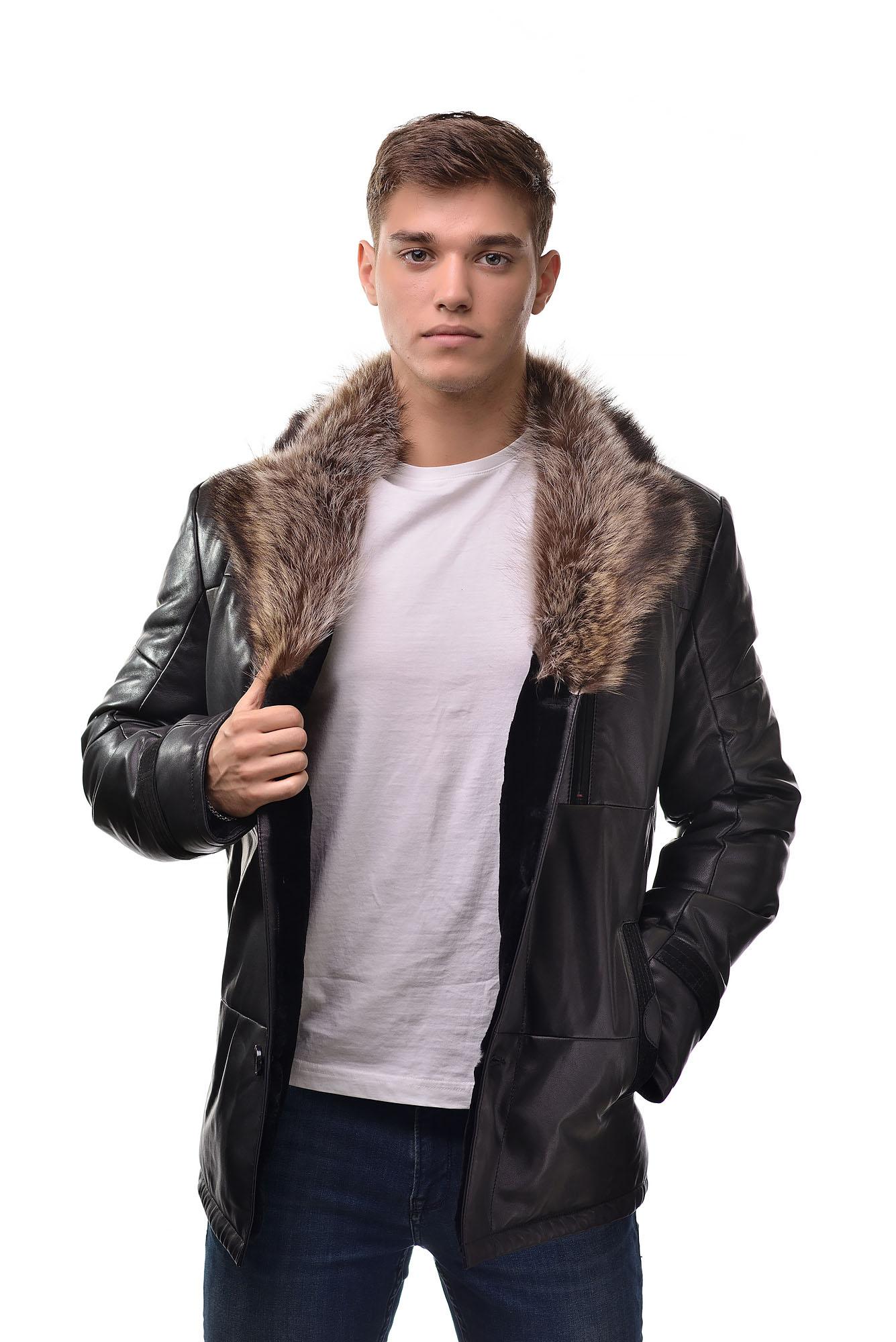 Мужская Кожаная дубленка на овчине с воротником из меха волка9048