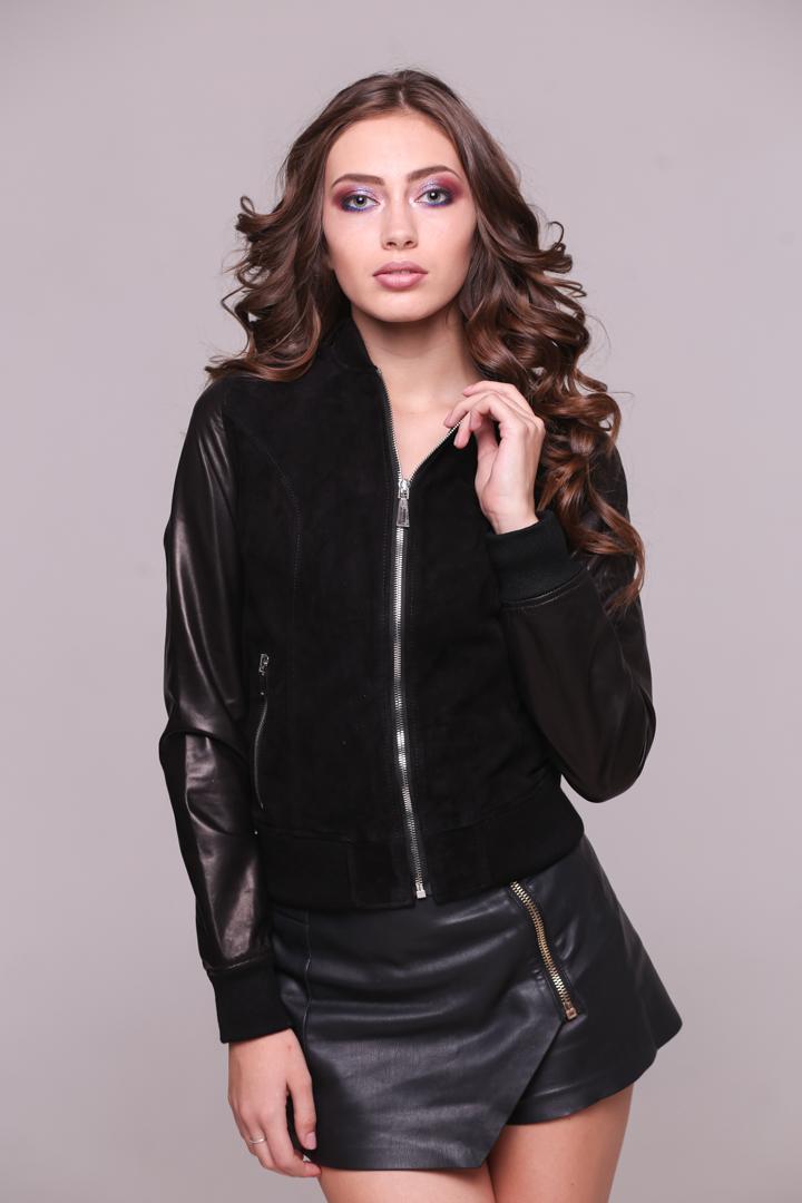 Женская Кожаная куртка с замшевыми вставкамиBYZ-01