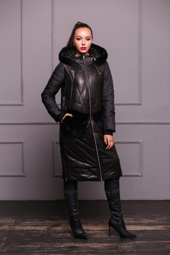 Женсий кожаный пуховик с мехом РексаP-6117