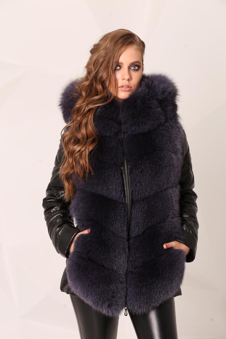 Женская Кожаная куртка с натуральным мехом песца2217(1)