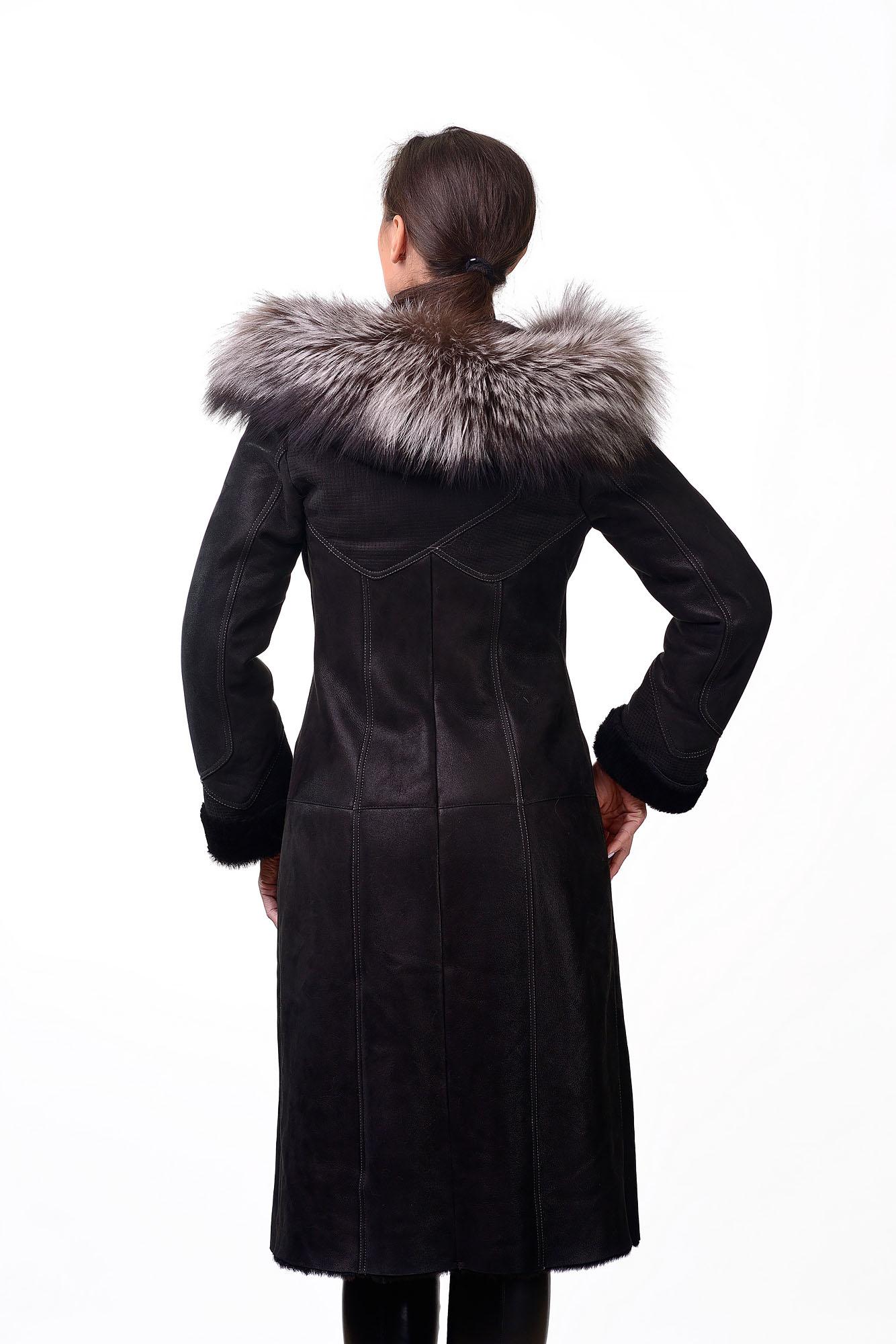 Женская дубленка с мехом черноборки BKM=1672