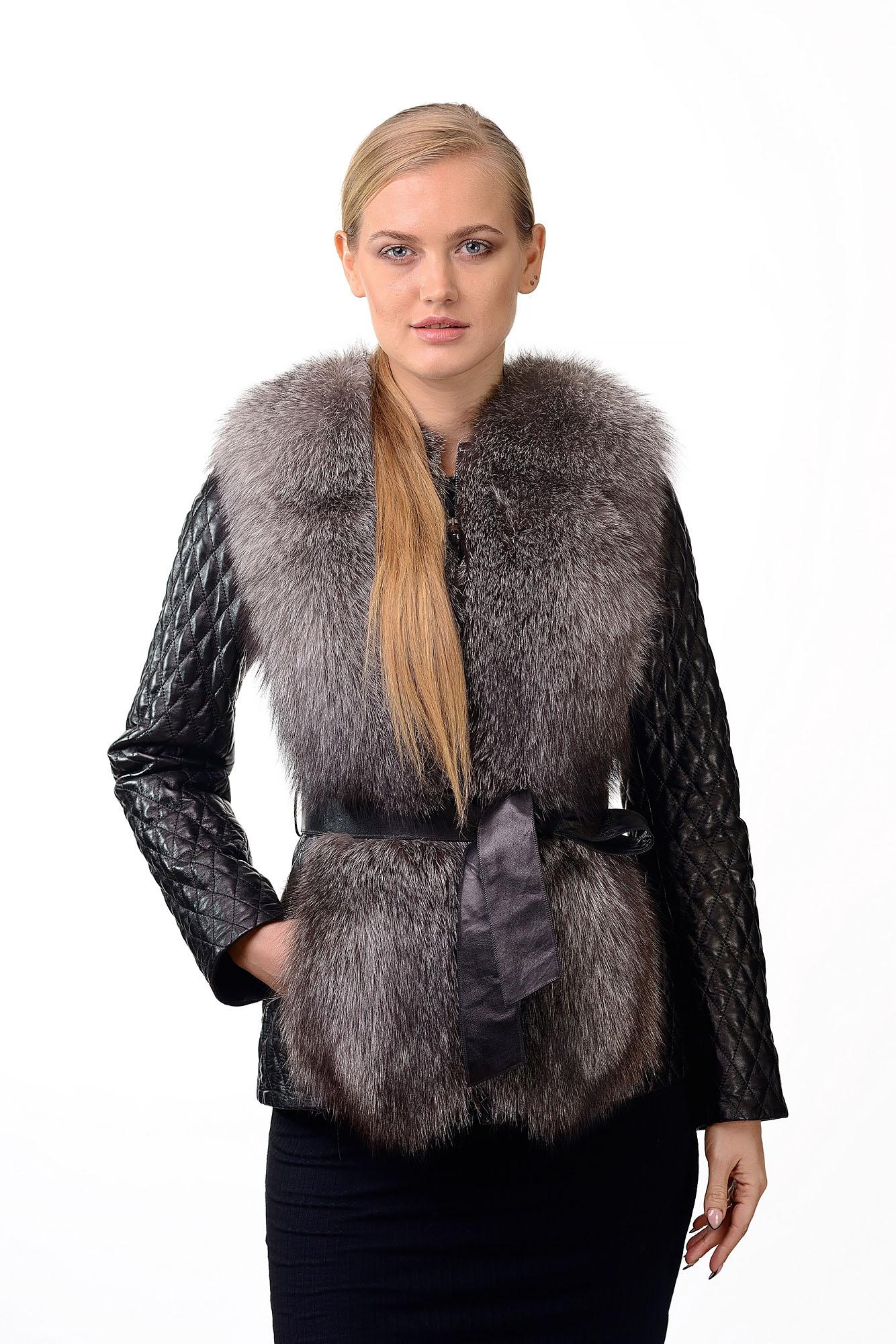 Женская кожаная жилетка с мехом черноборки и отстегивающимися рукавами2219