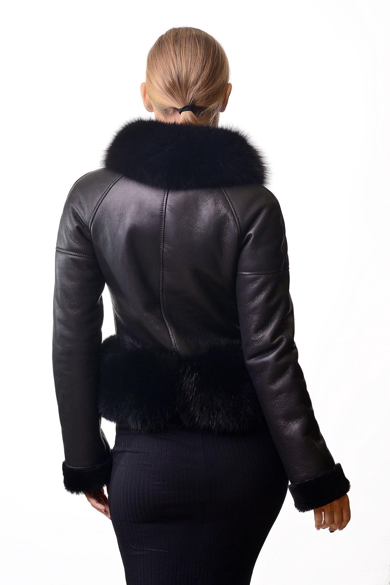 Женская дубленка с мехом песцаF=574