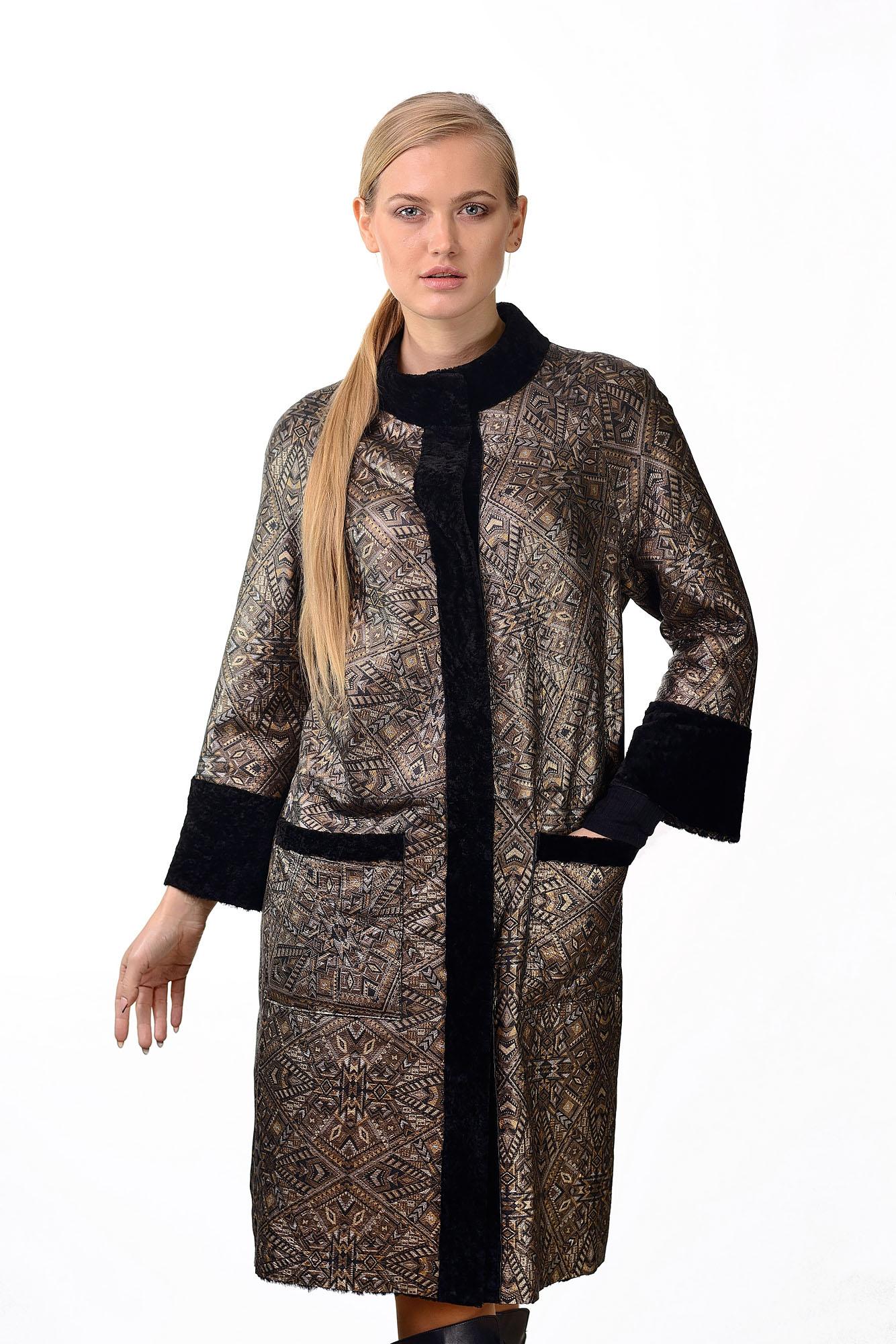 Женское двухстороннее пальто кожа/астраган570