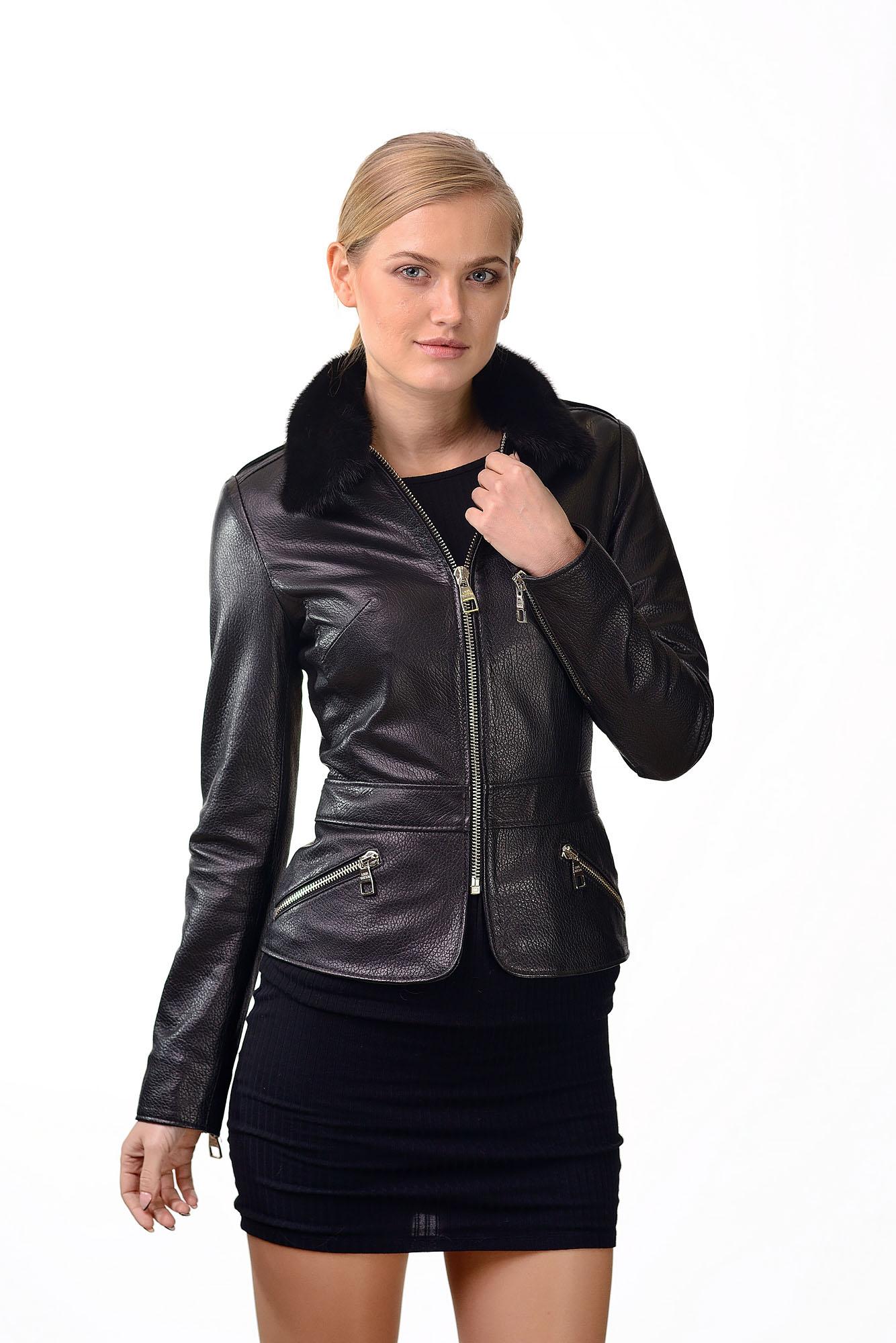 Женская кожаная куртка с воротником из меха норкиKing4