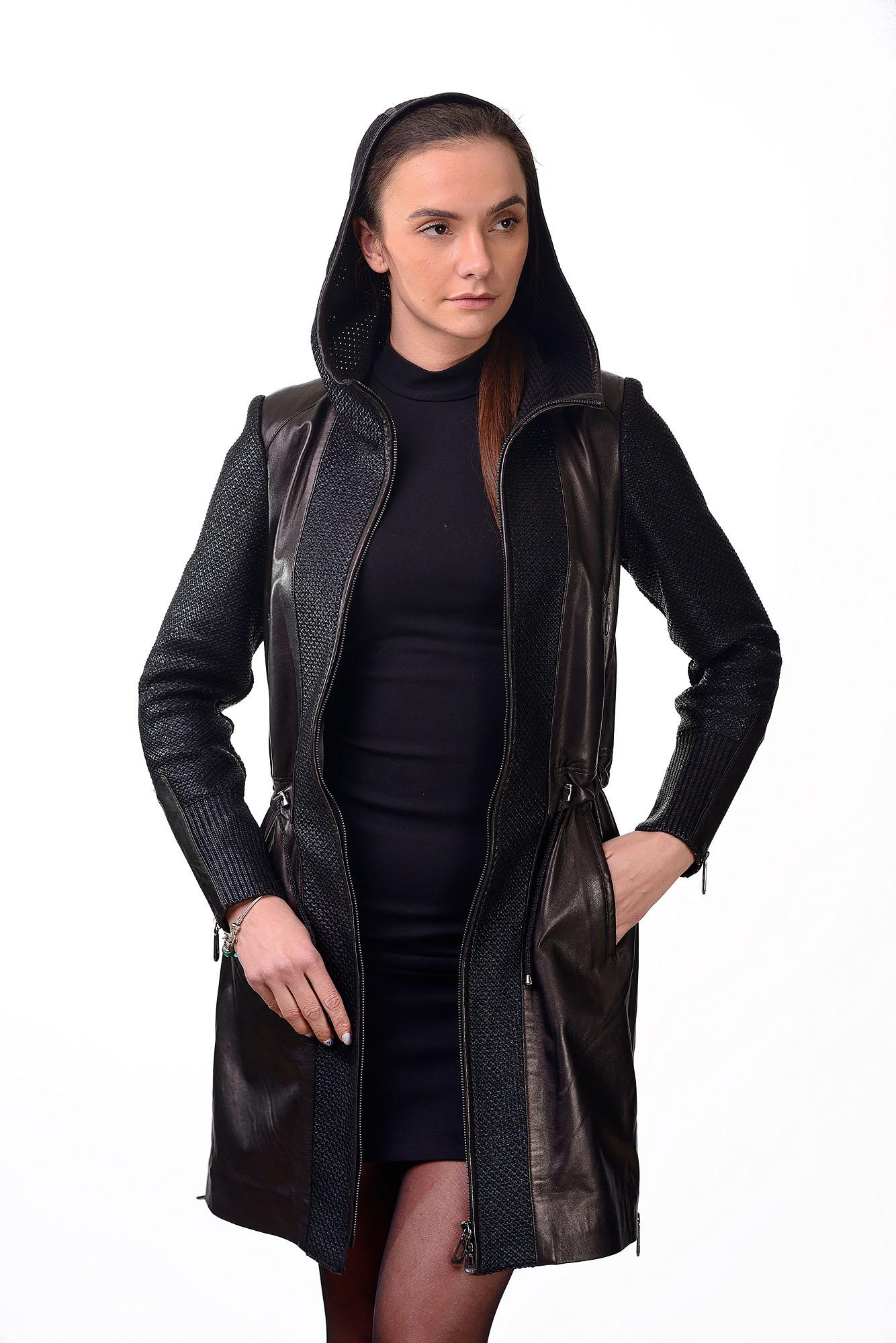 Женское кожаное пальто15455