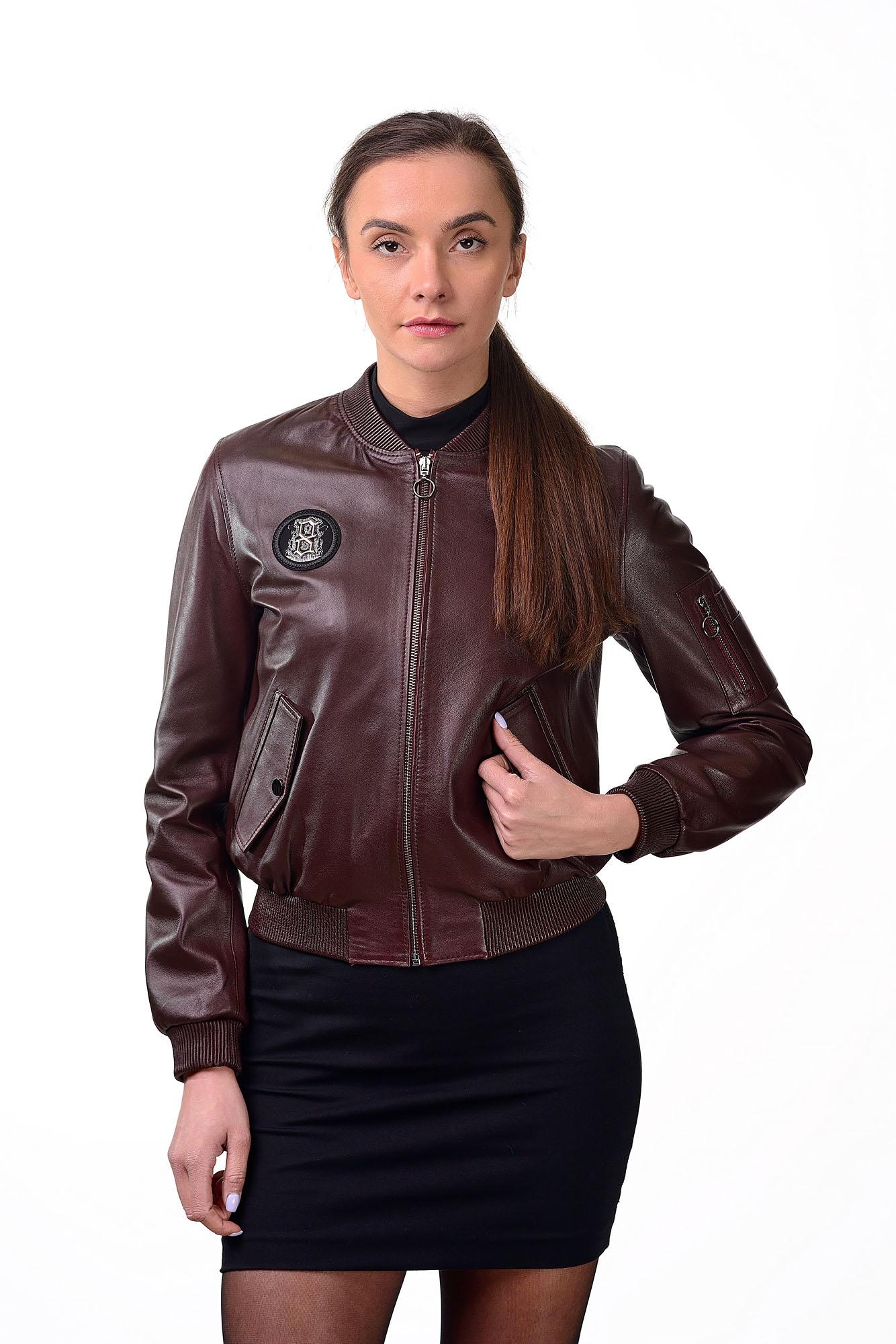 Женская кожаная куртка — бомберZ=70