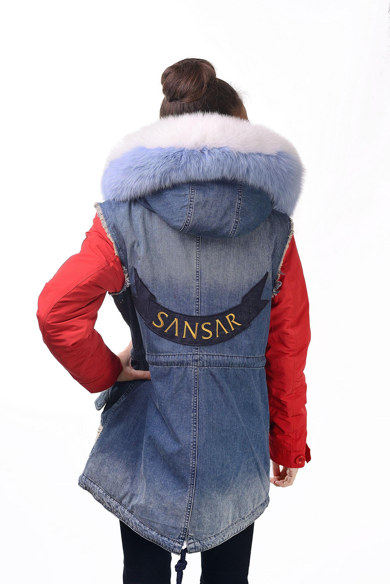 Женская джинсовая парка с мехом песца8075A-51(2)