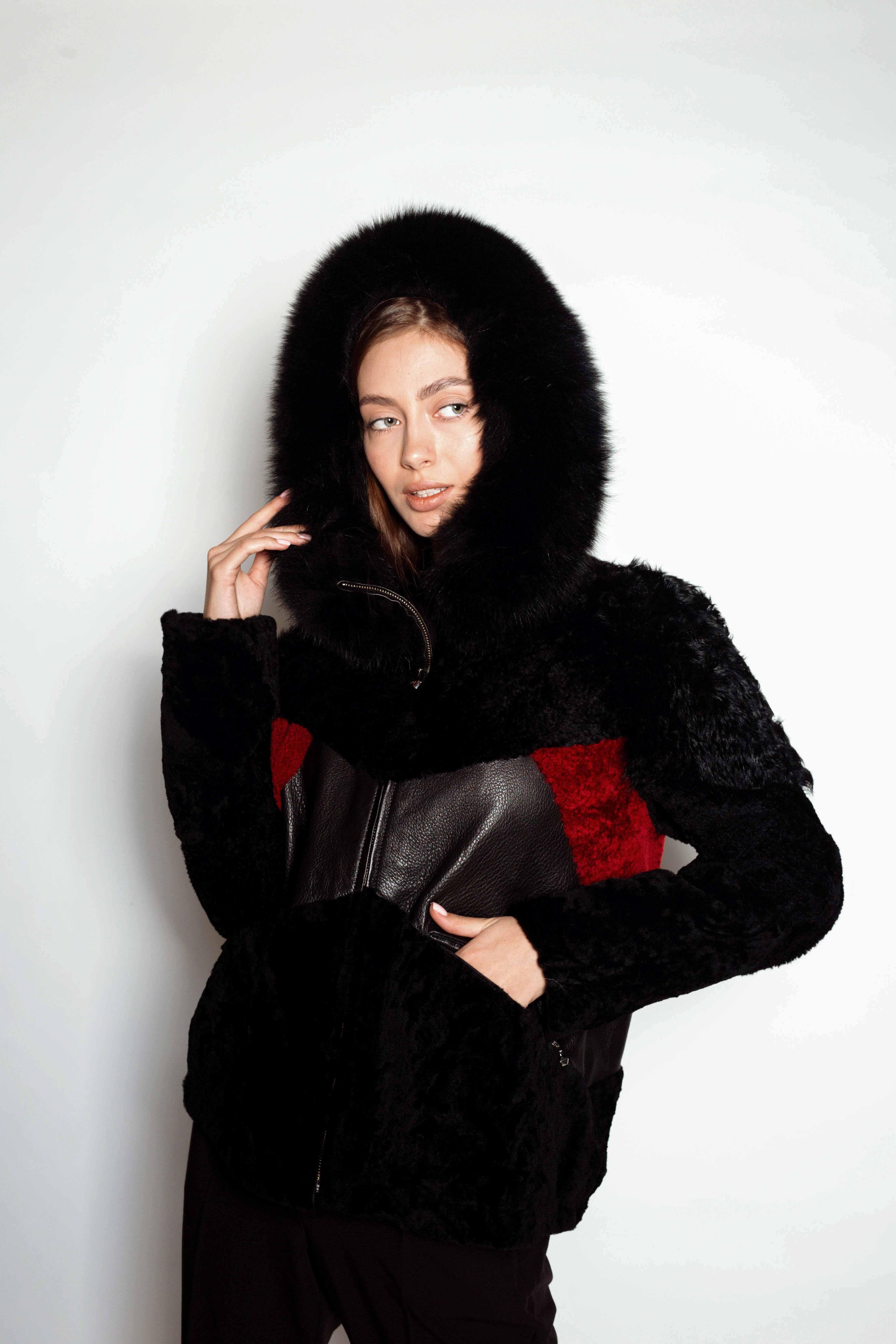 Женская комбинированная дубленка с мехом KK-10086