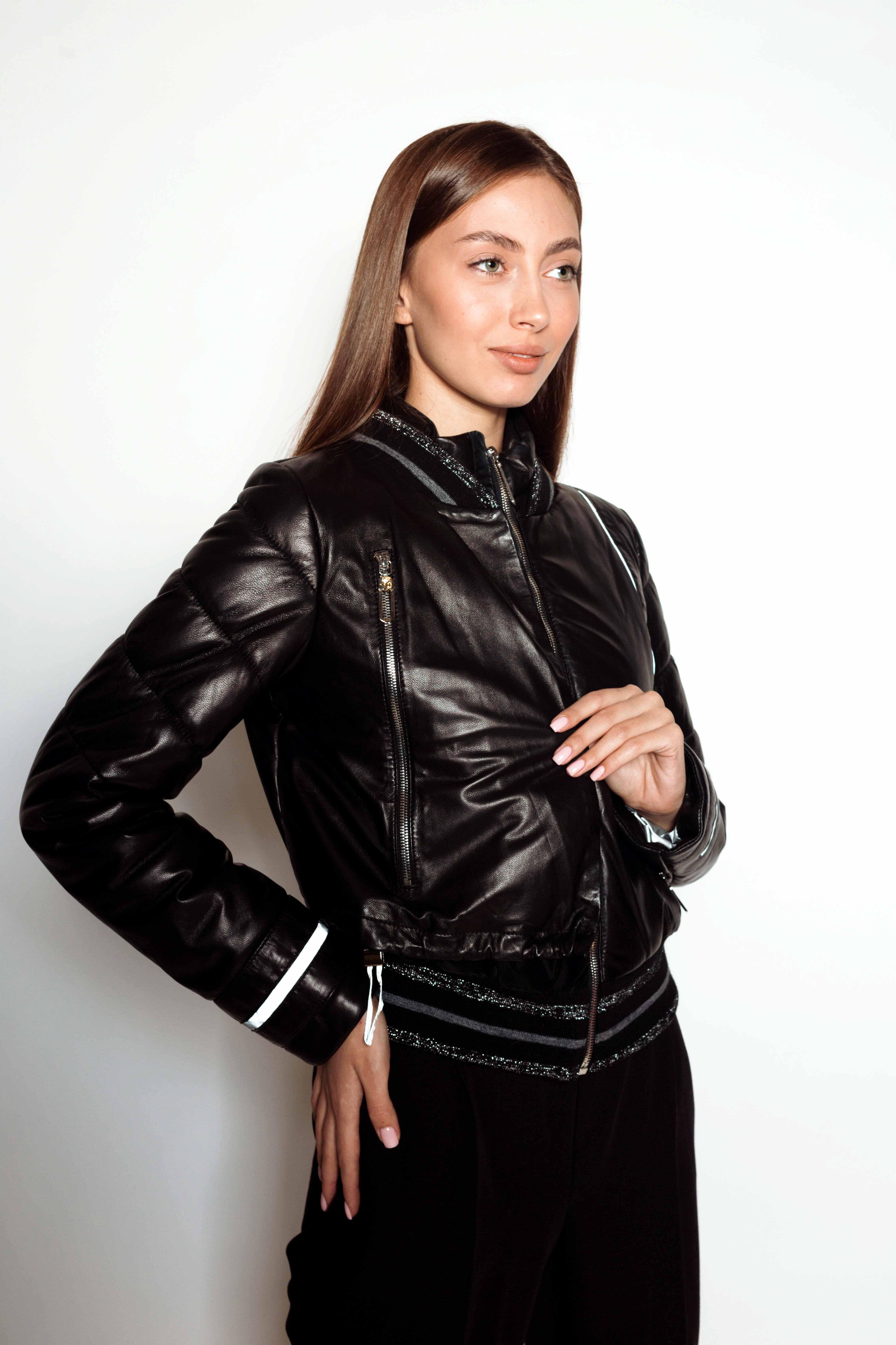 Женский кожаный пуховик Z-3654