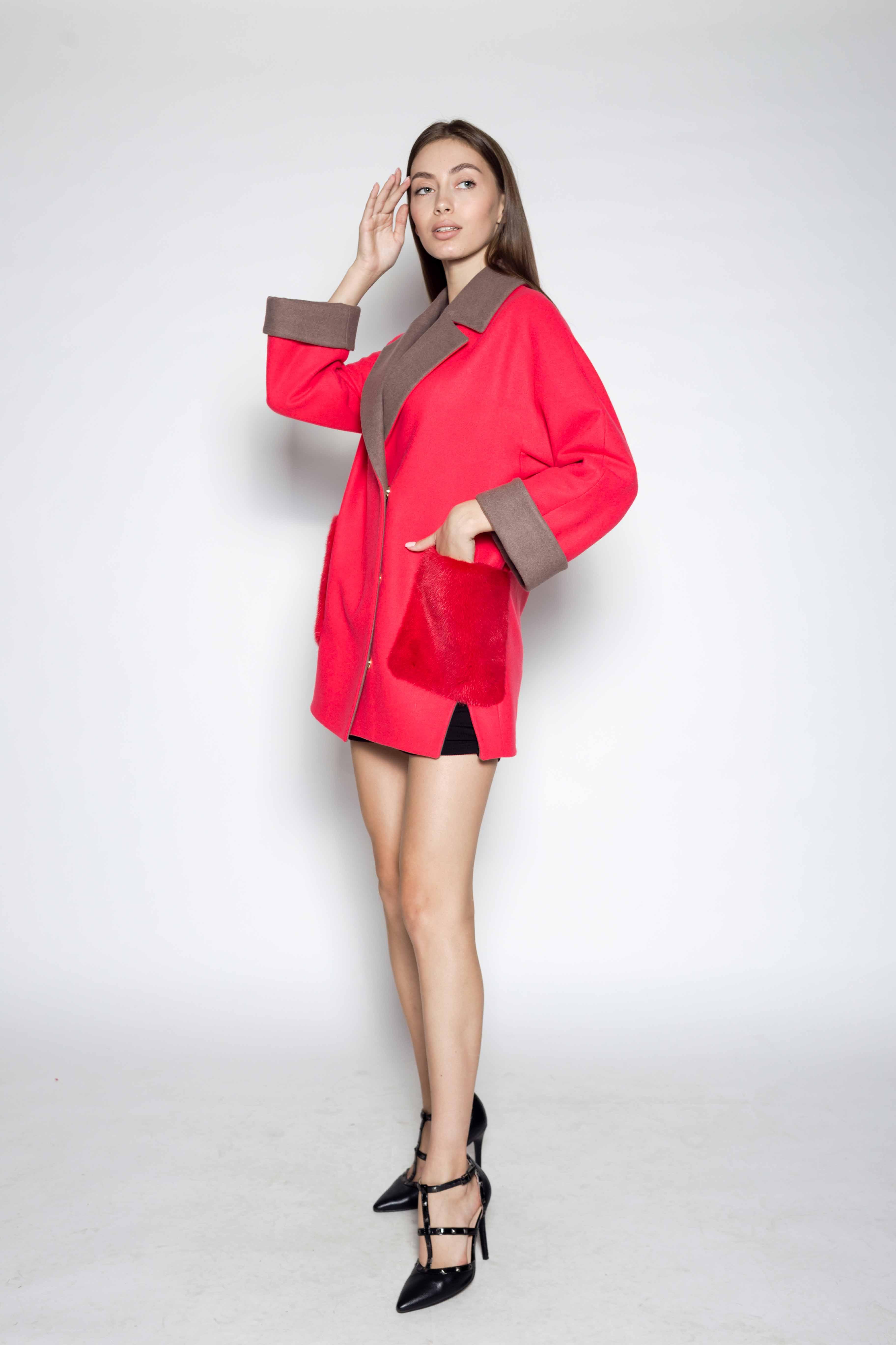 Женское пальто с мехом норки 8407
