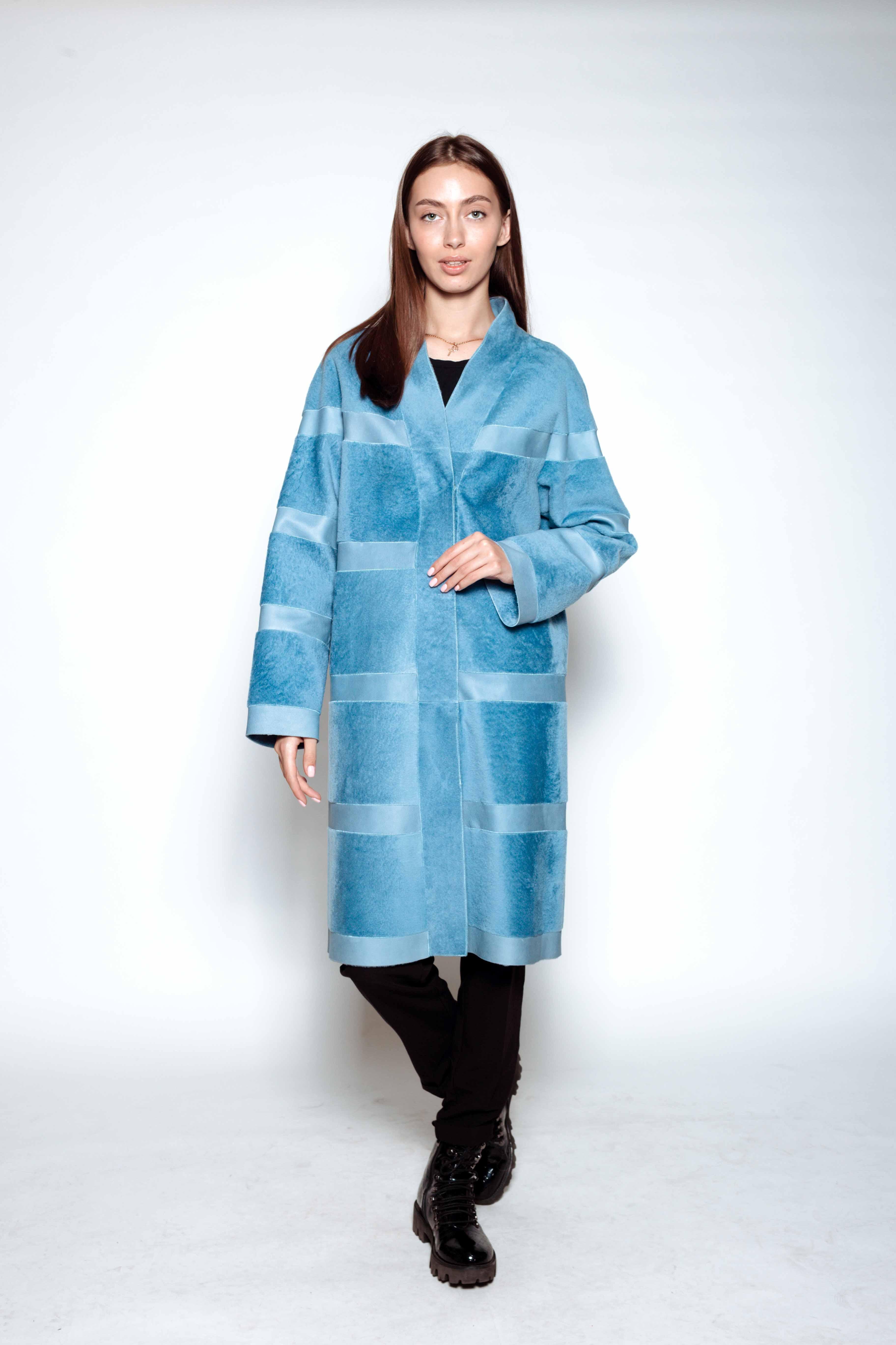 Женское пальто из стриженного меха овчины 363