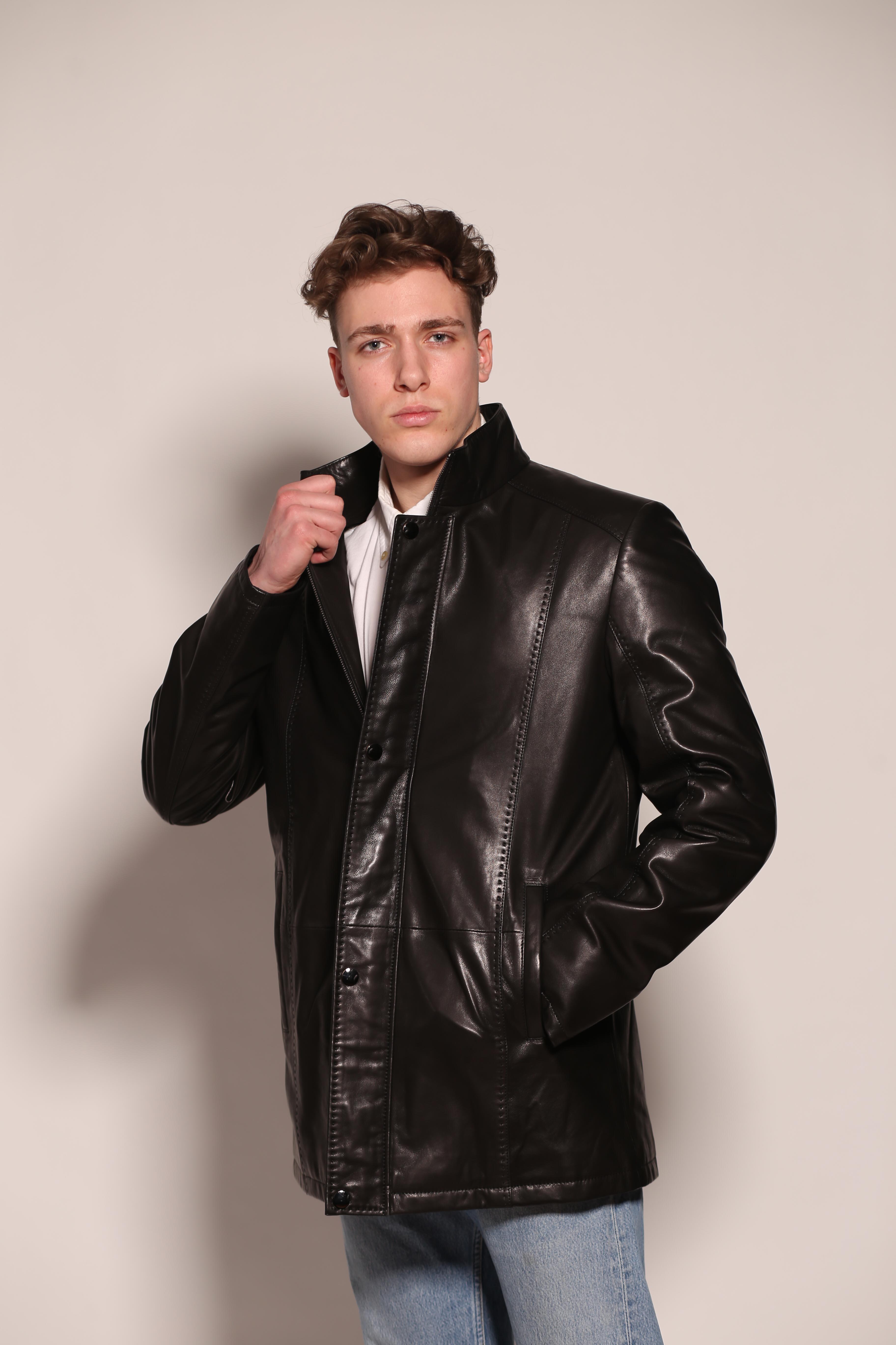 Мужская удлиненная кожаная куртка 6046