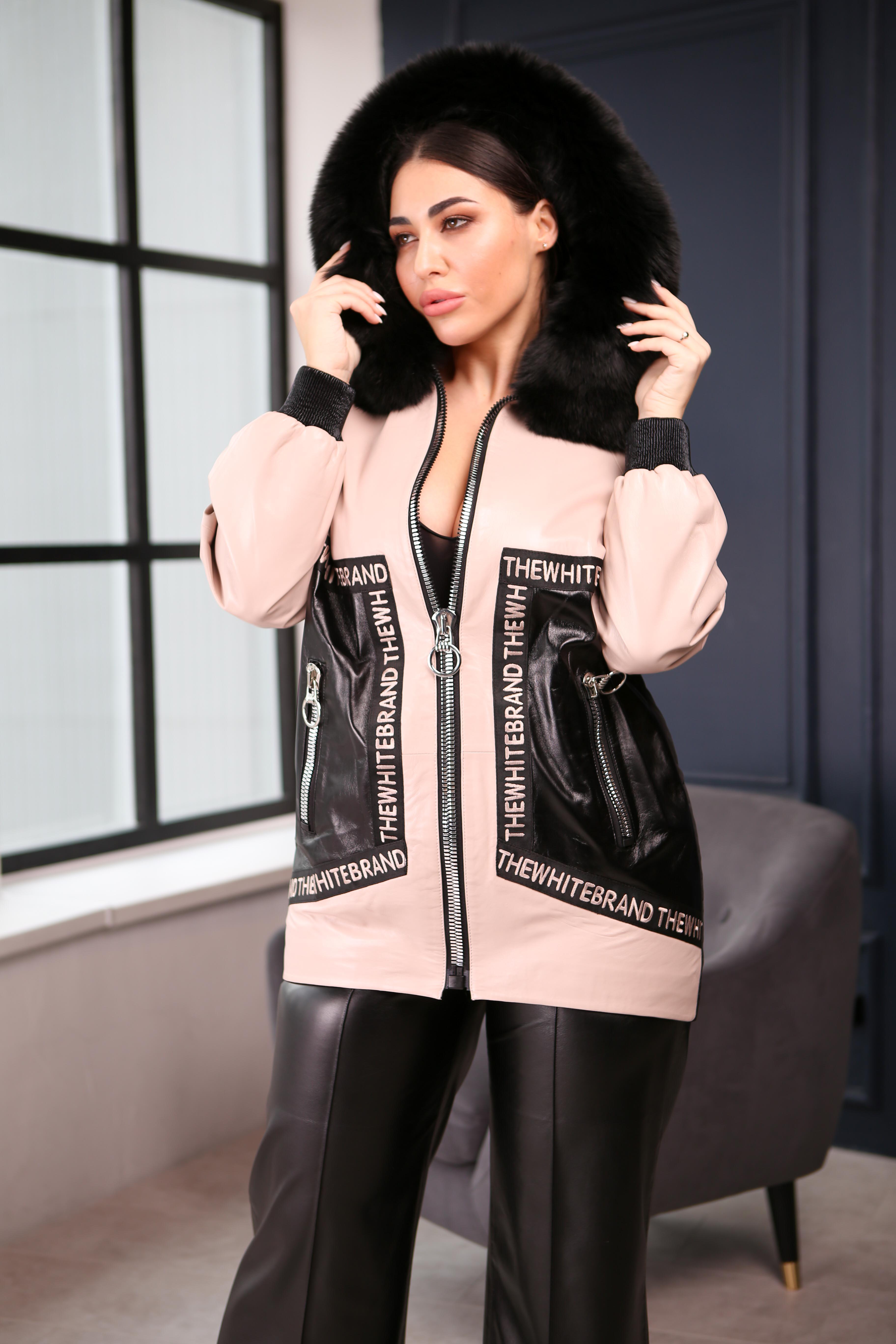 Женская удлиненная кожаная куртка 217-150-04