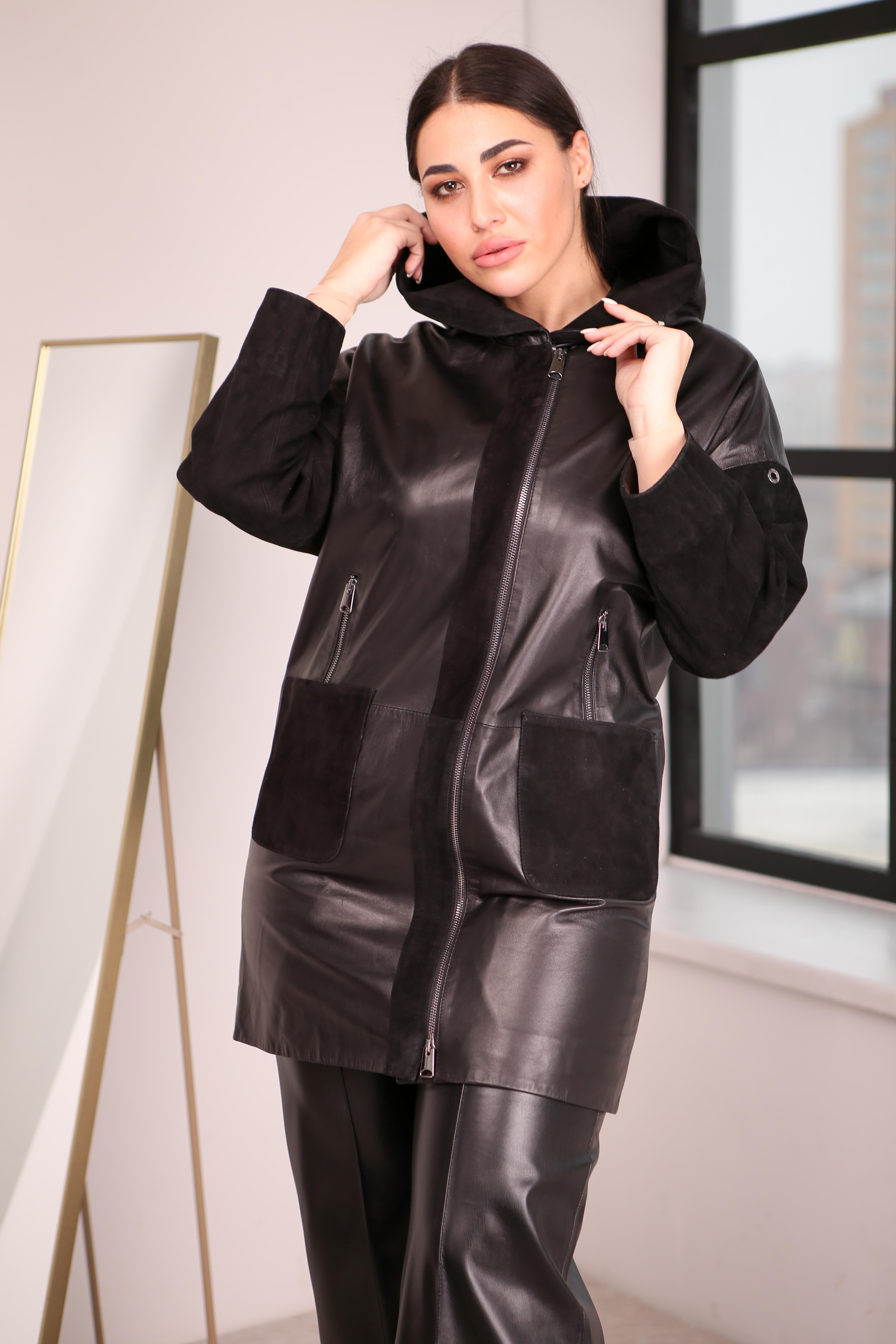 Женский кожаный плащ с замшевыми вставками 1480