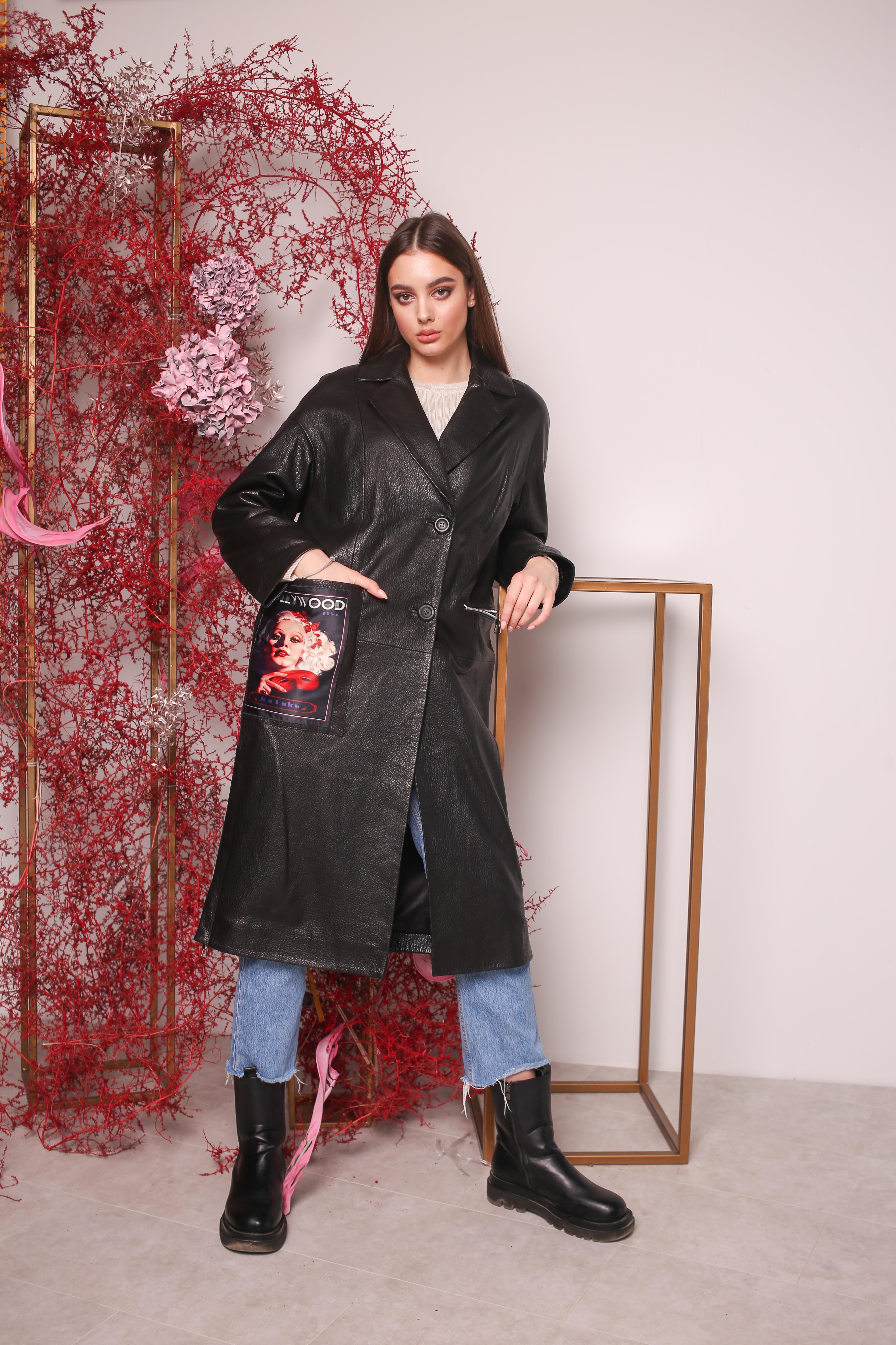 Женский кожаный плащ Z-1866-A