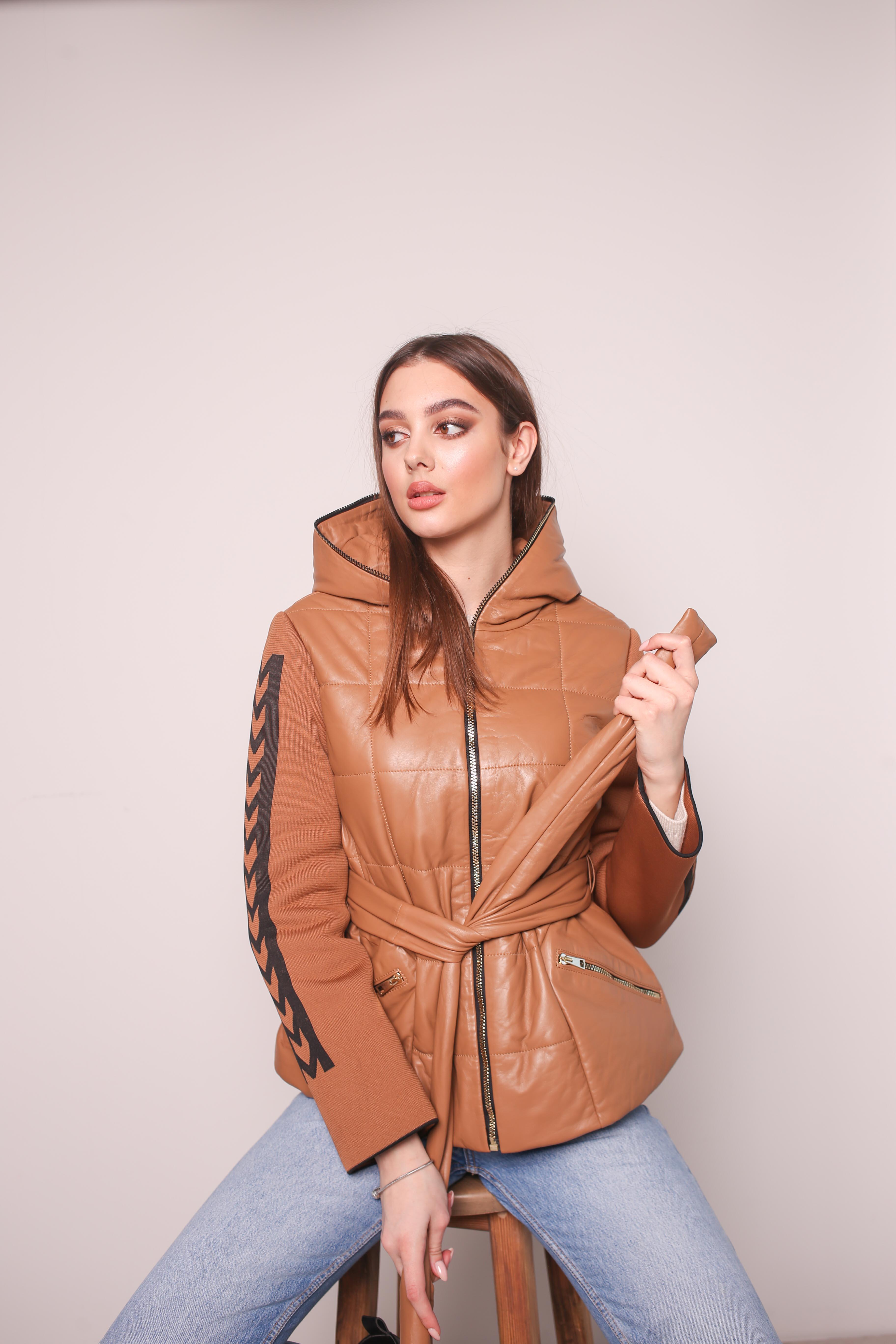 Женская удлиненная кожаная куртка KZ-10218-A