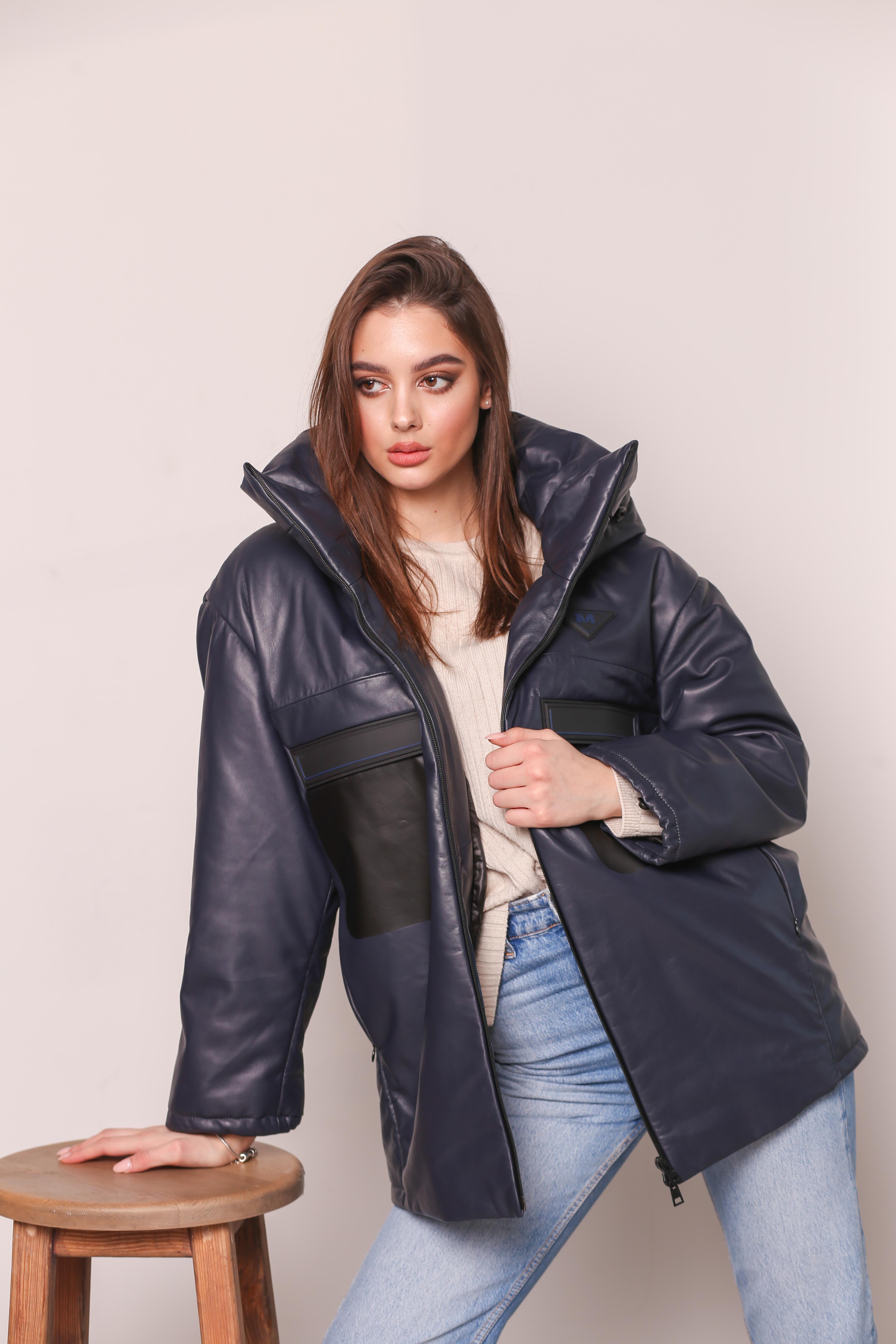 Женская кожаная утепленная куртка KZ-10244